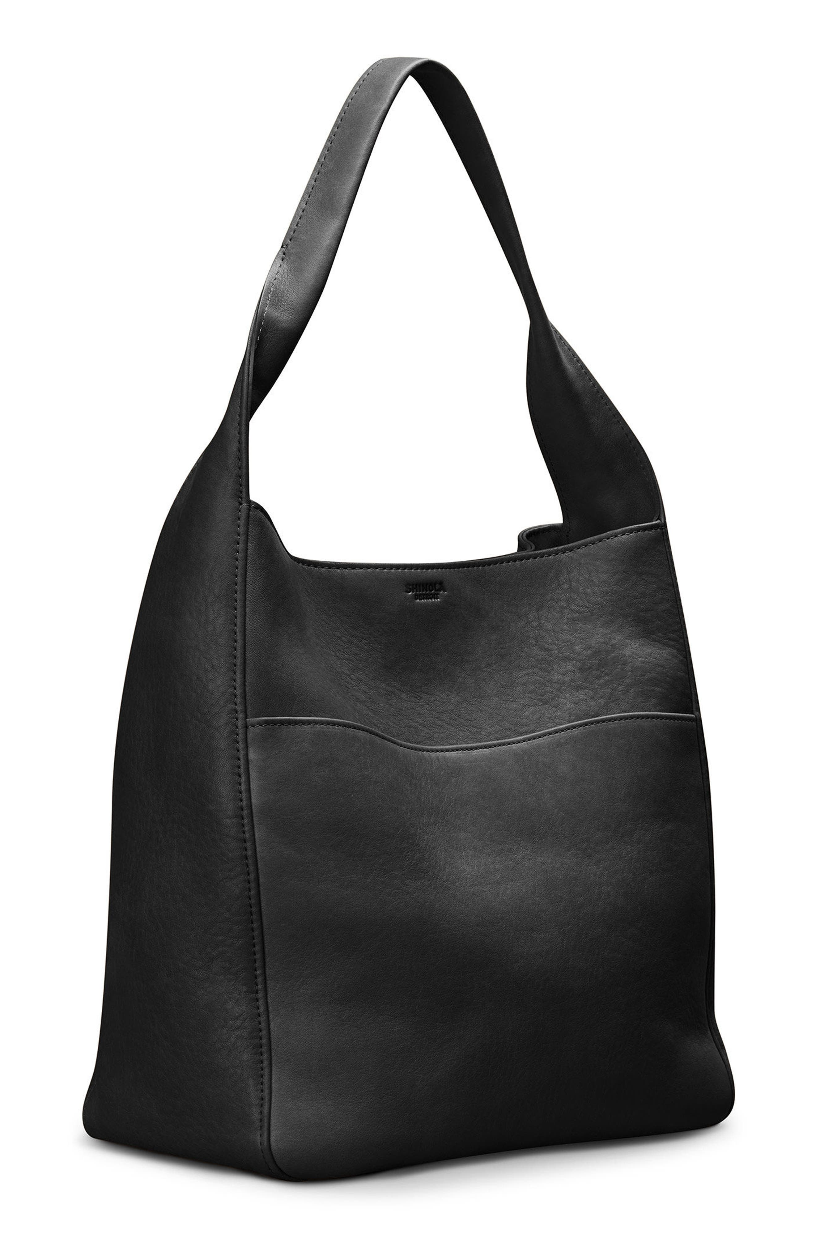 Cass Dearborn Leather Hobo,                             Alternate thumbnail 5, color,                             BLACK
