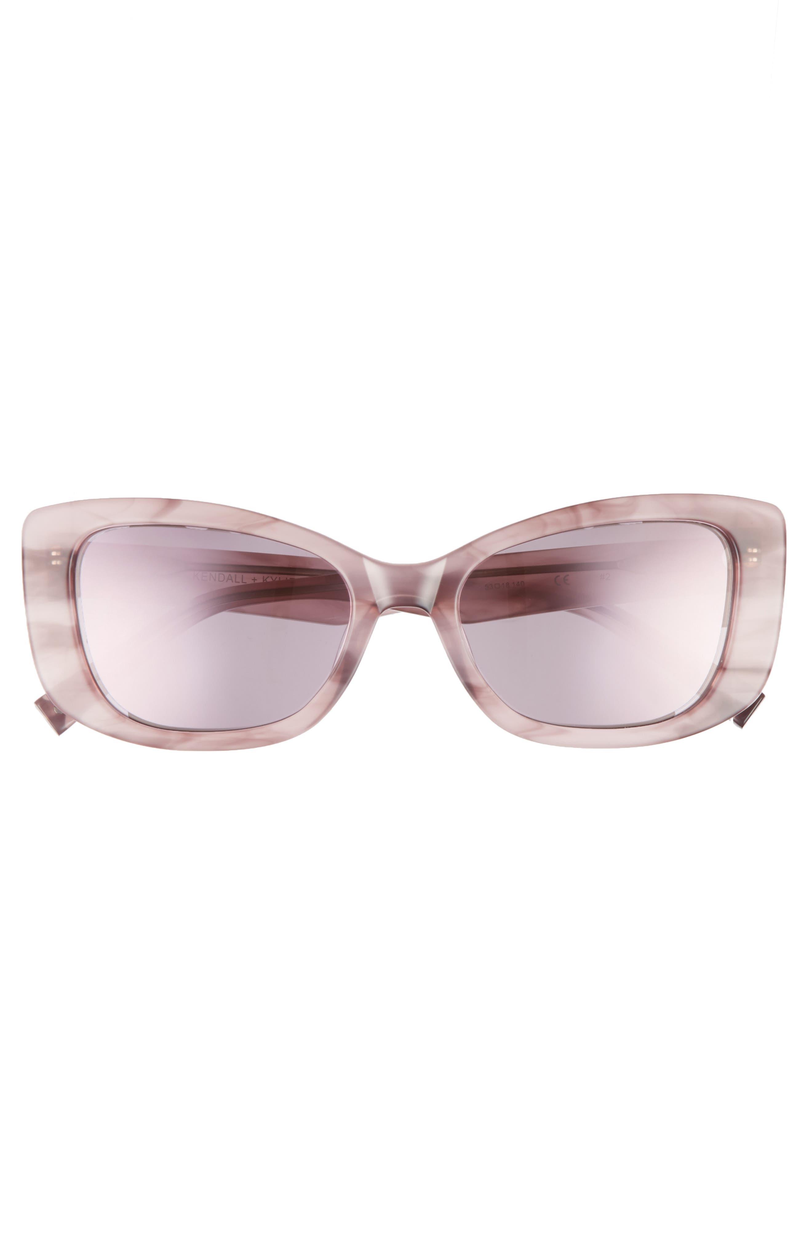 53mm Cat Eye Sunglasses,                             Alternate thumbnail 3, color,                             ROSE HORN