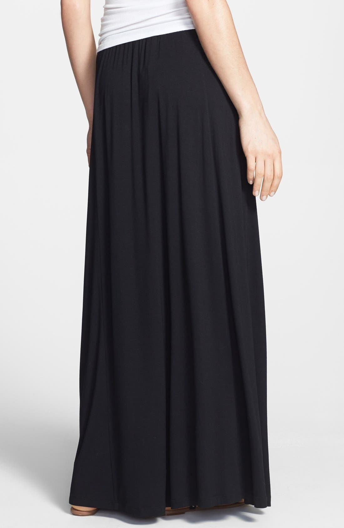Pocket Knit Maxi Skirt,                             Alternate thumbnail 3, color,                             001