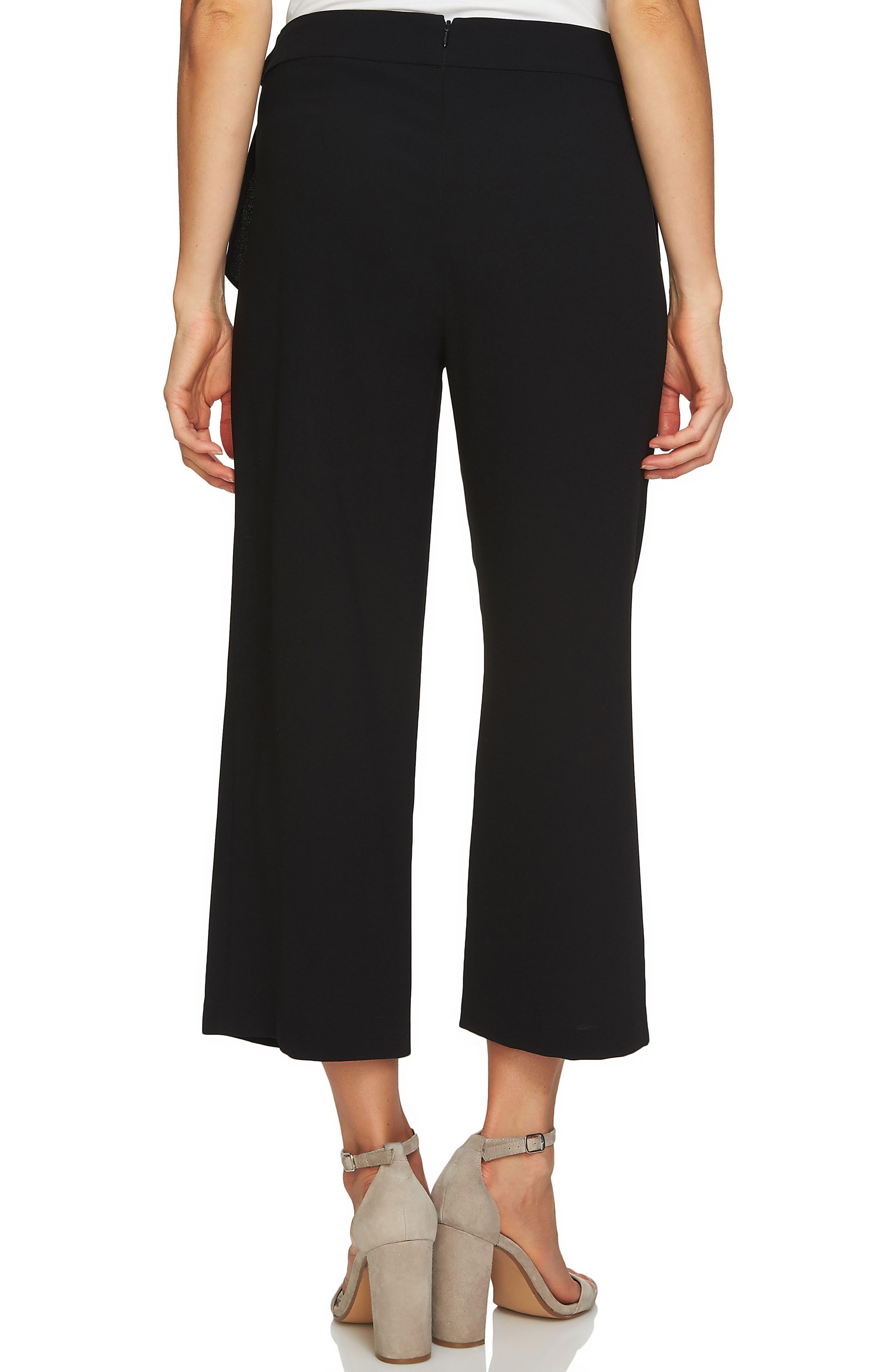 Side Tie Crop Pants,                             Alternate thumbnail 2, color,                             RICH BLACK