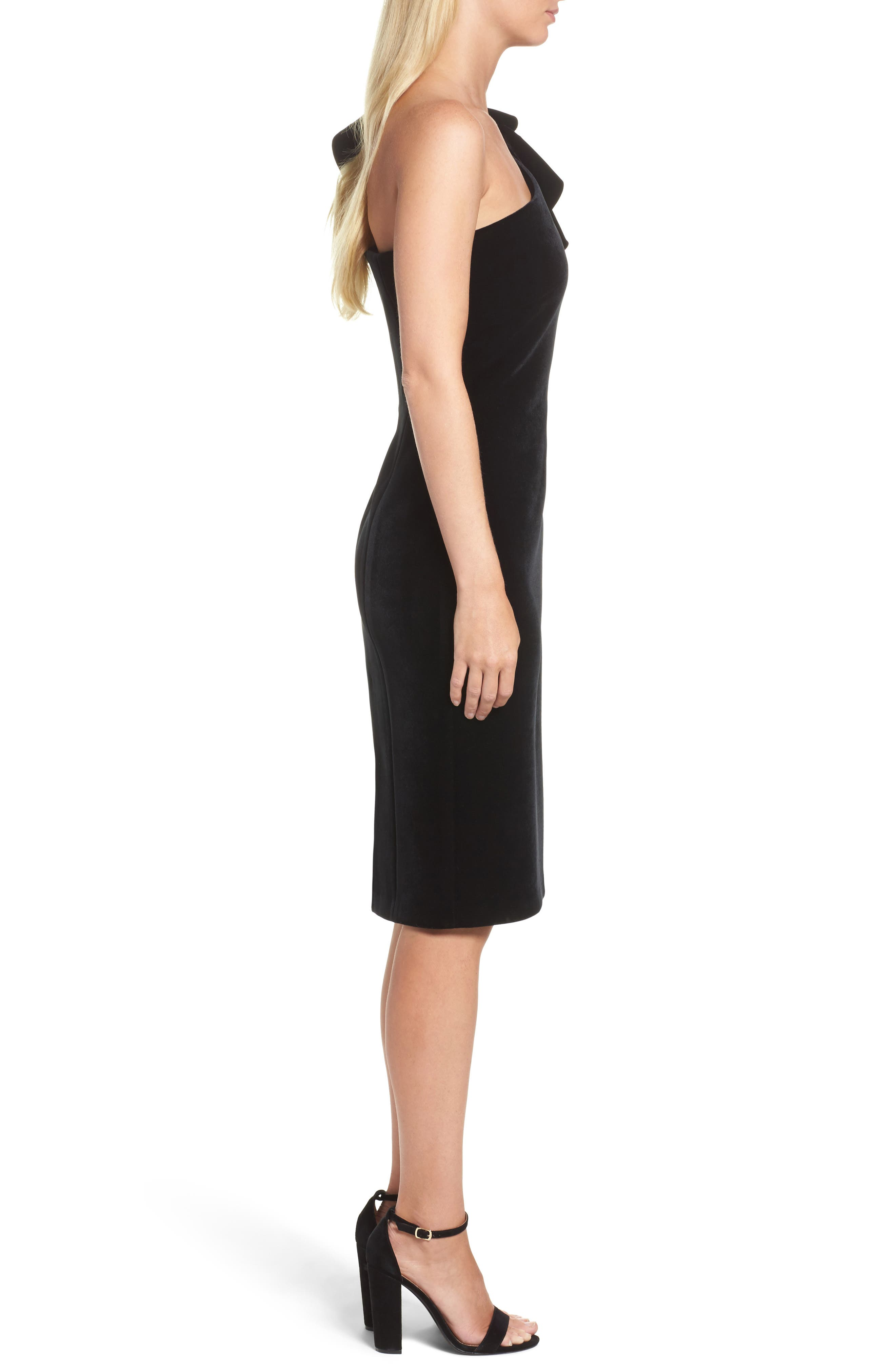 One-Shoulder Velvet Sheath Dress,                             Alternate thumbnail 3, color,                             BLACK