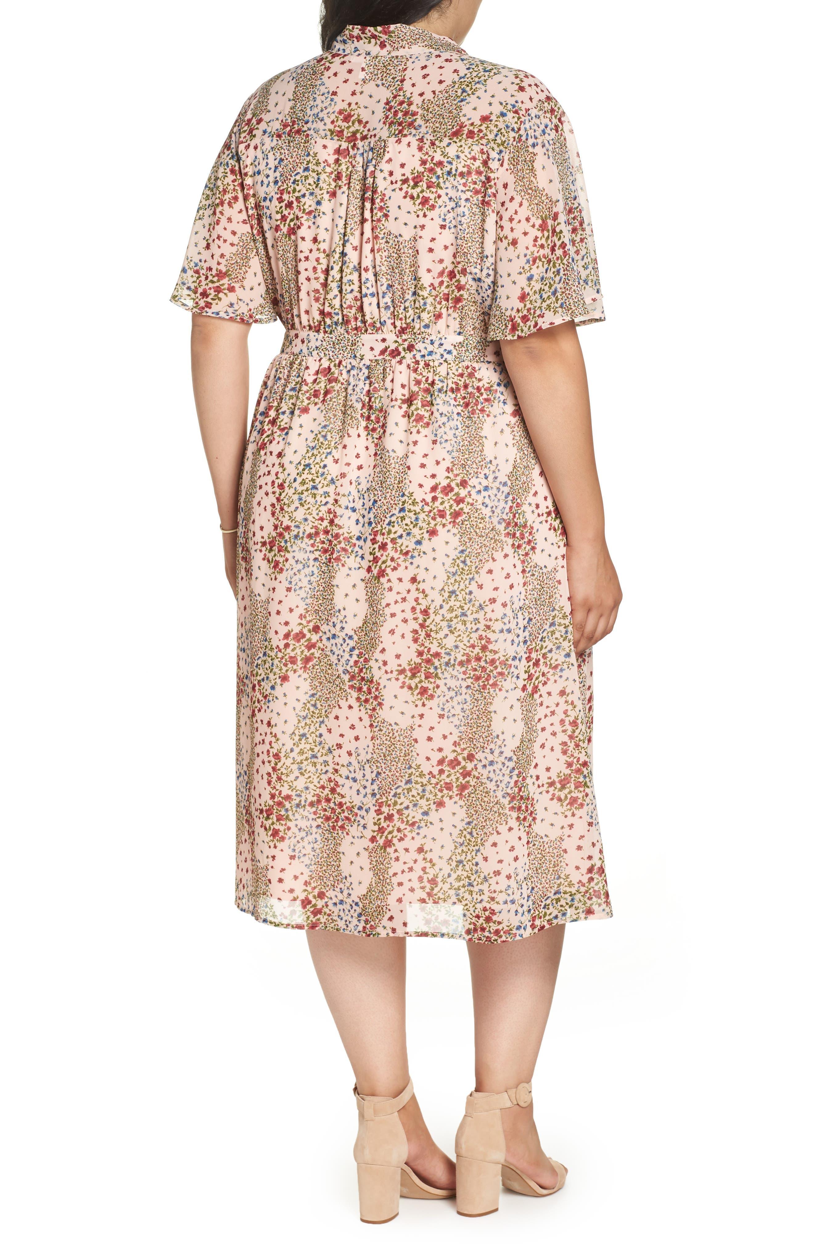 Tie Neck Floral Dress,                             Alternate thumbnail 2, color,                             958