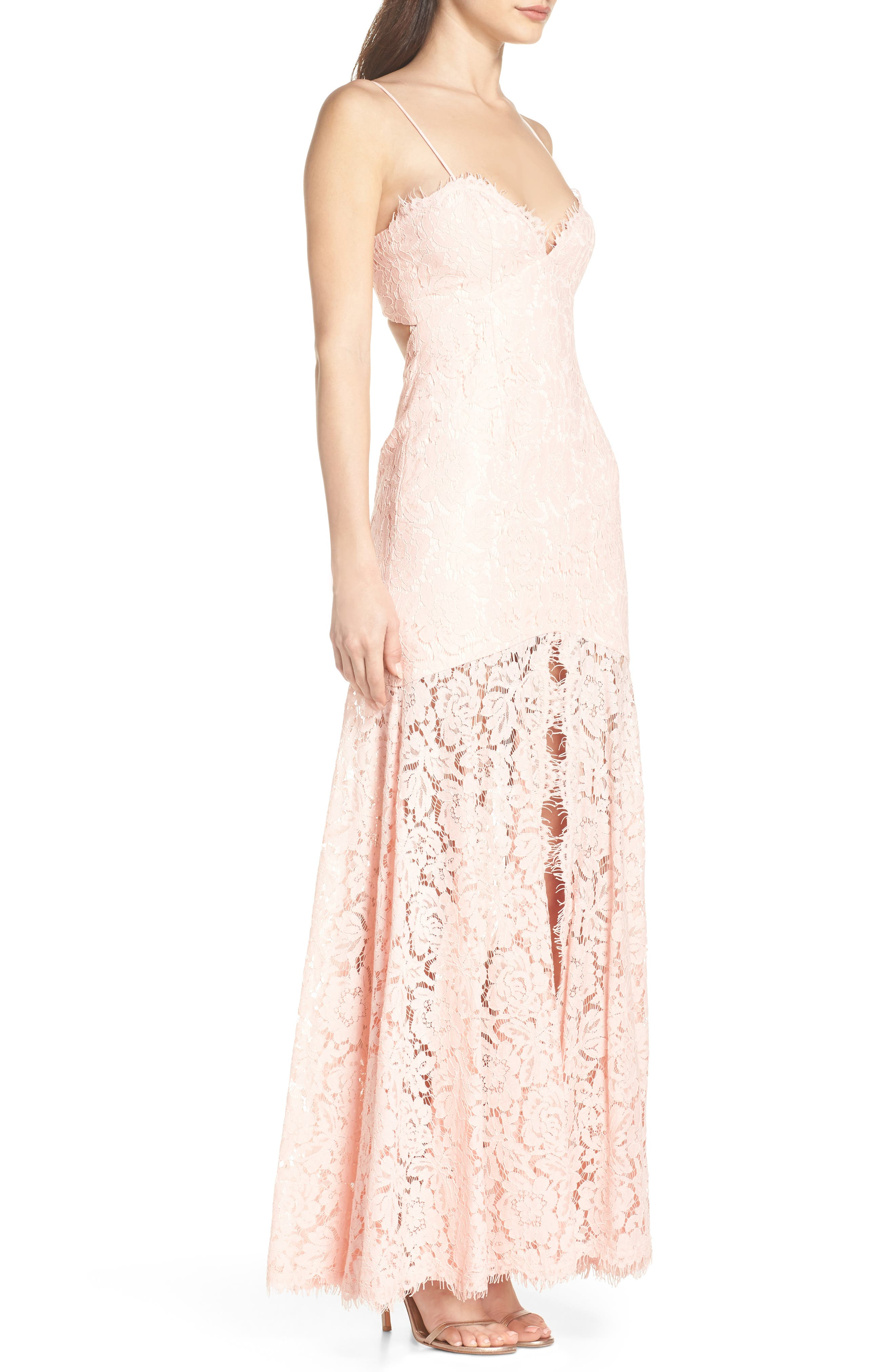 Babe Lace Gown,                             Alternate thumbnail 3, color,                             PALE PINK