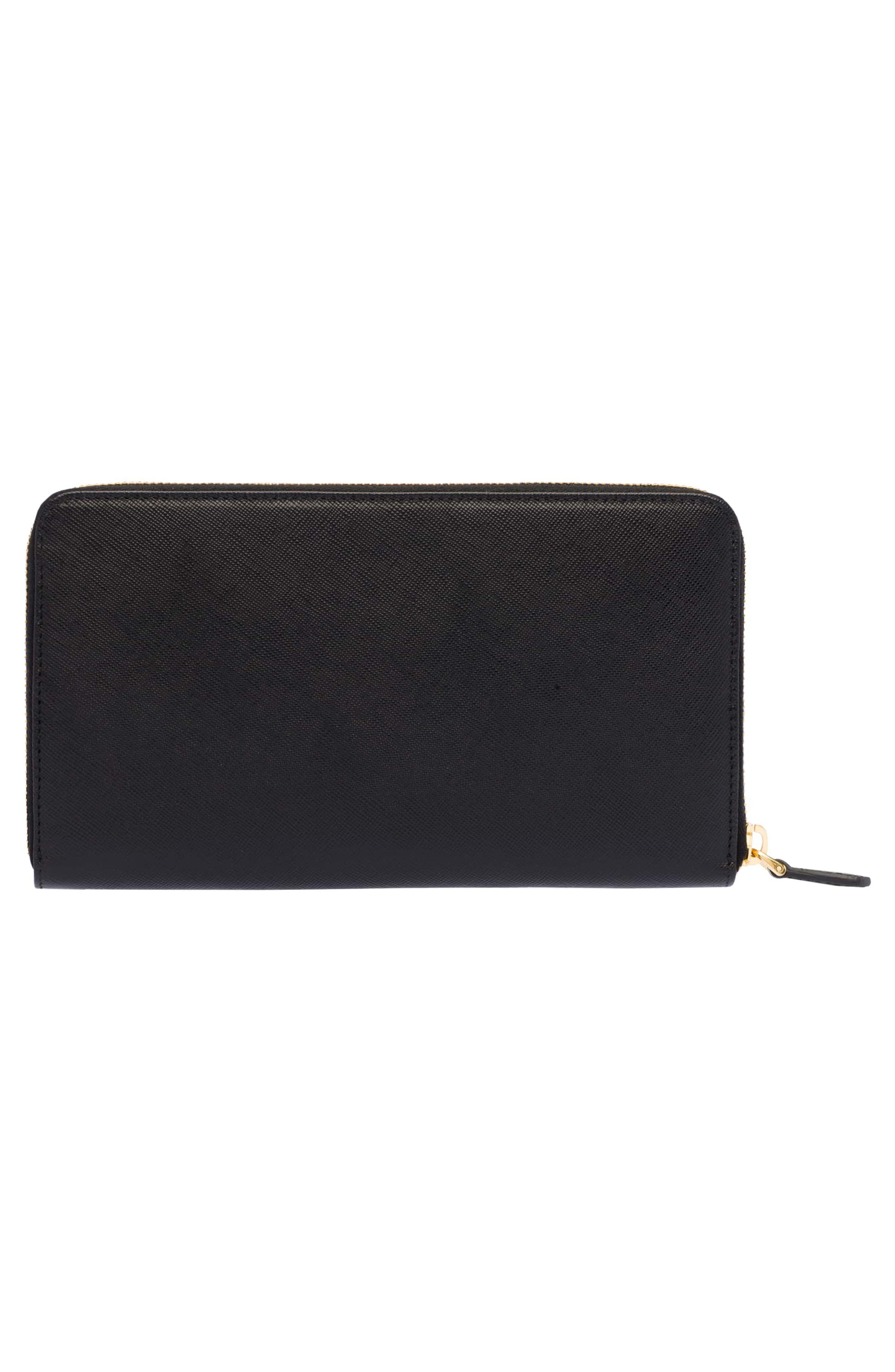 Oro Saffiano Leather Zip Around Wallet,                             Alternate thumbnail 3, color,                             001