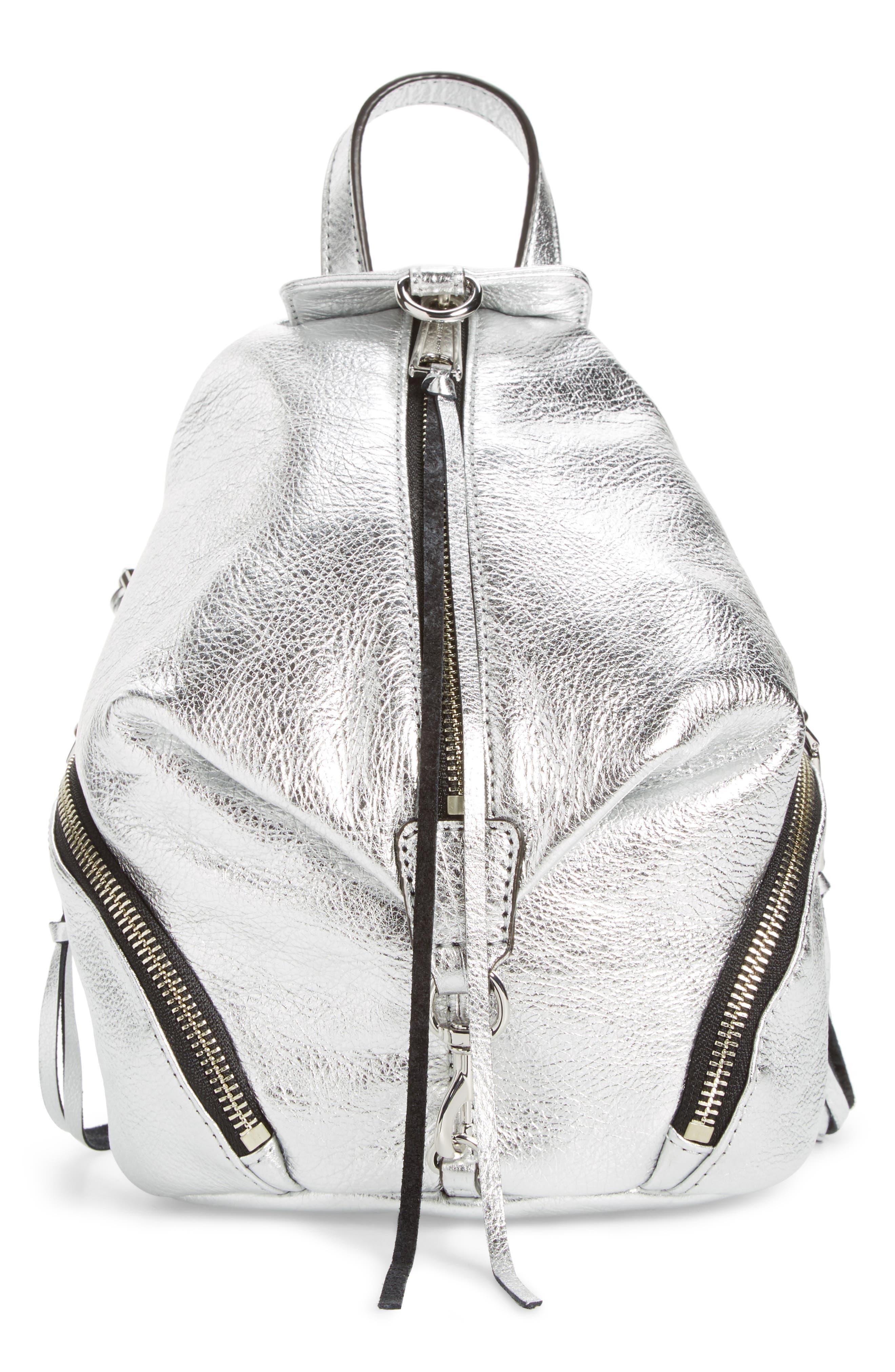 Mini Julian Metallic Leather Backpack,                         Main,                         color, 040