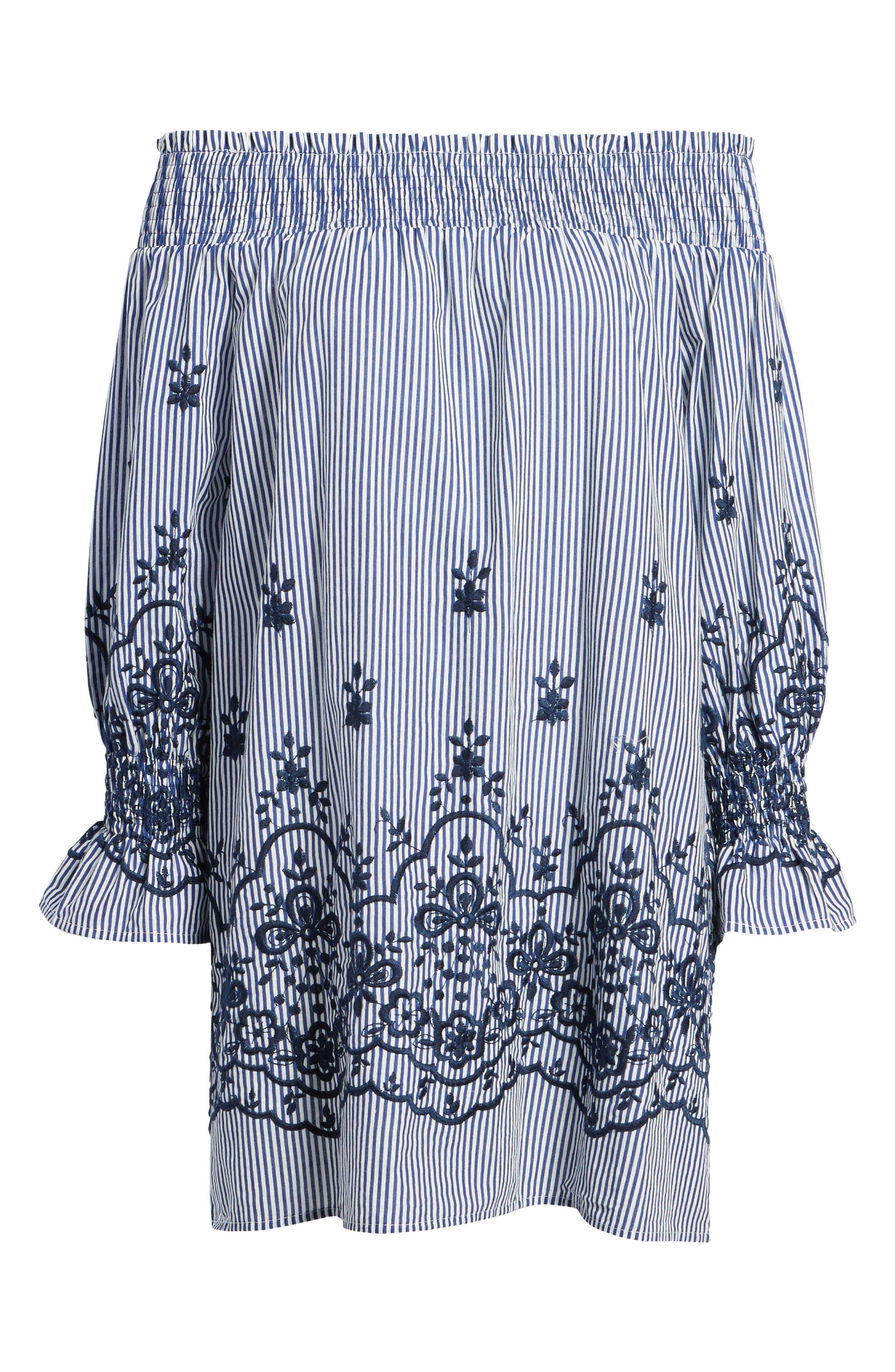 Bishop + Young Stripe Embroidered Off the Shoulder Dress,                             Alternate thumbnail 7, color,