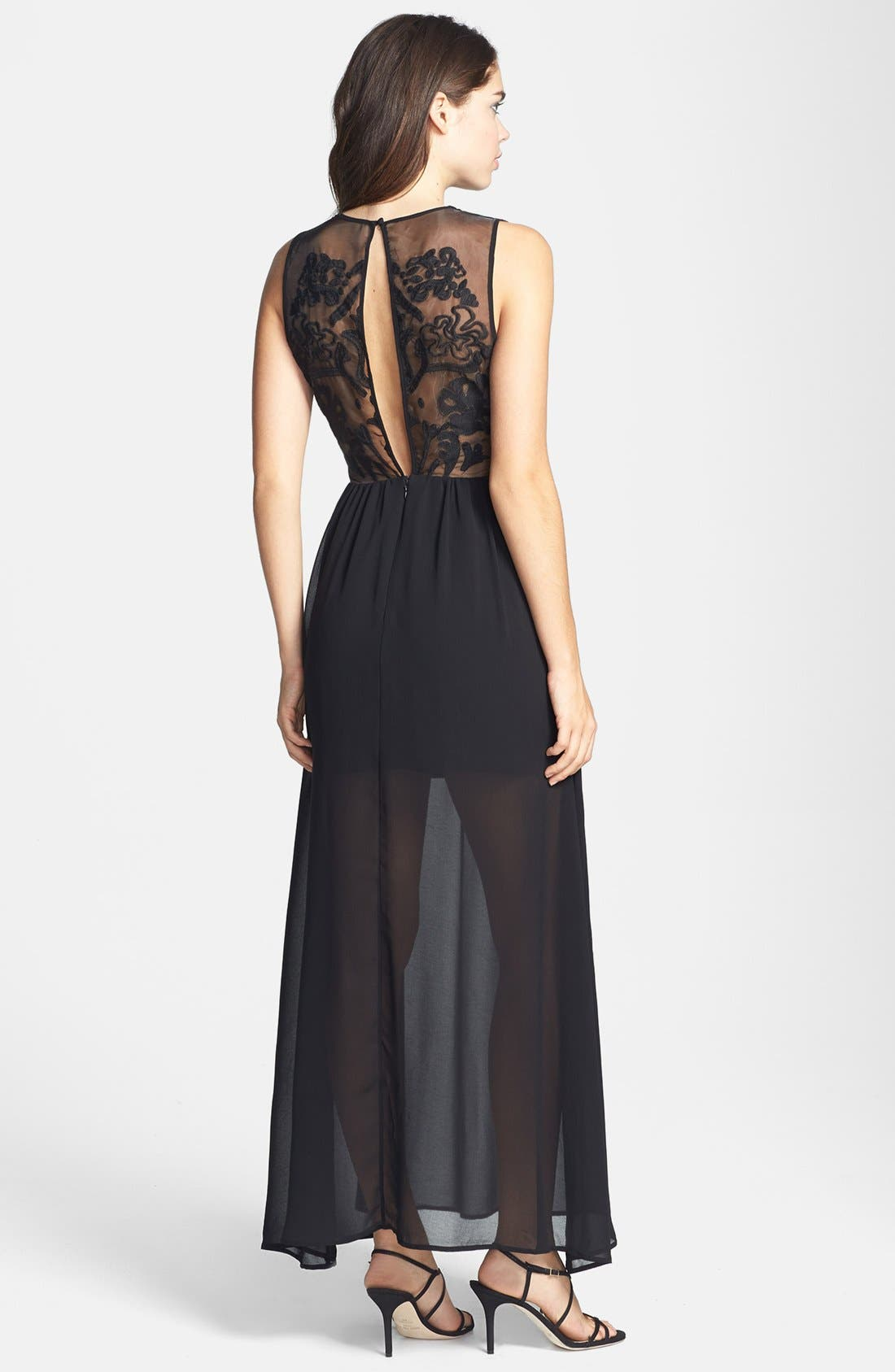 'Cold Desert' Embroidered Back Chiffon Maxi Dress,                             Alternate thumbnail 2, color,                             001