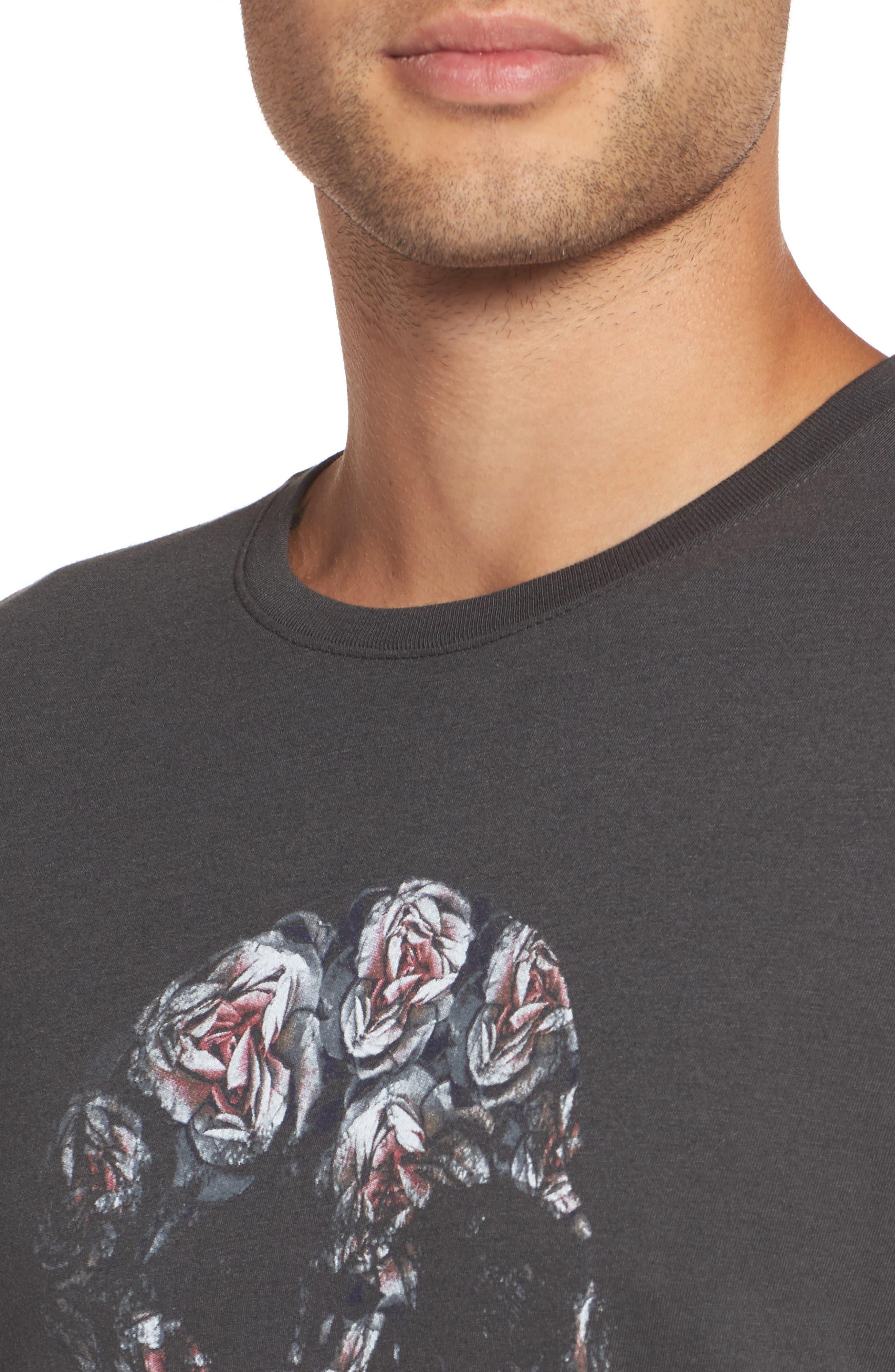 John Varvatos Floral Skull Graphic T-Shirt,                             Alternate thumbnail 4, color,                             001