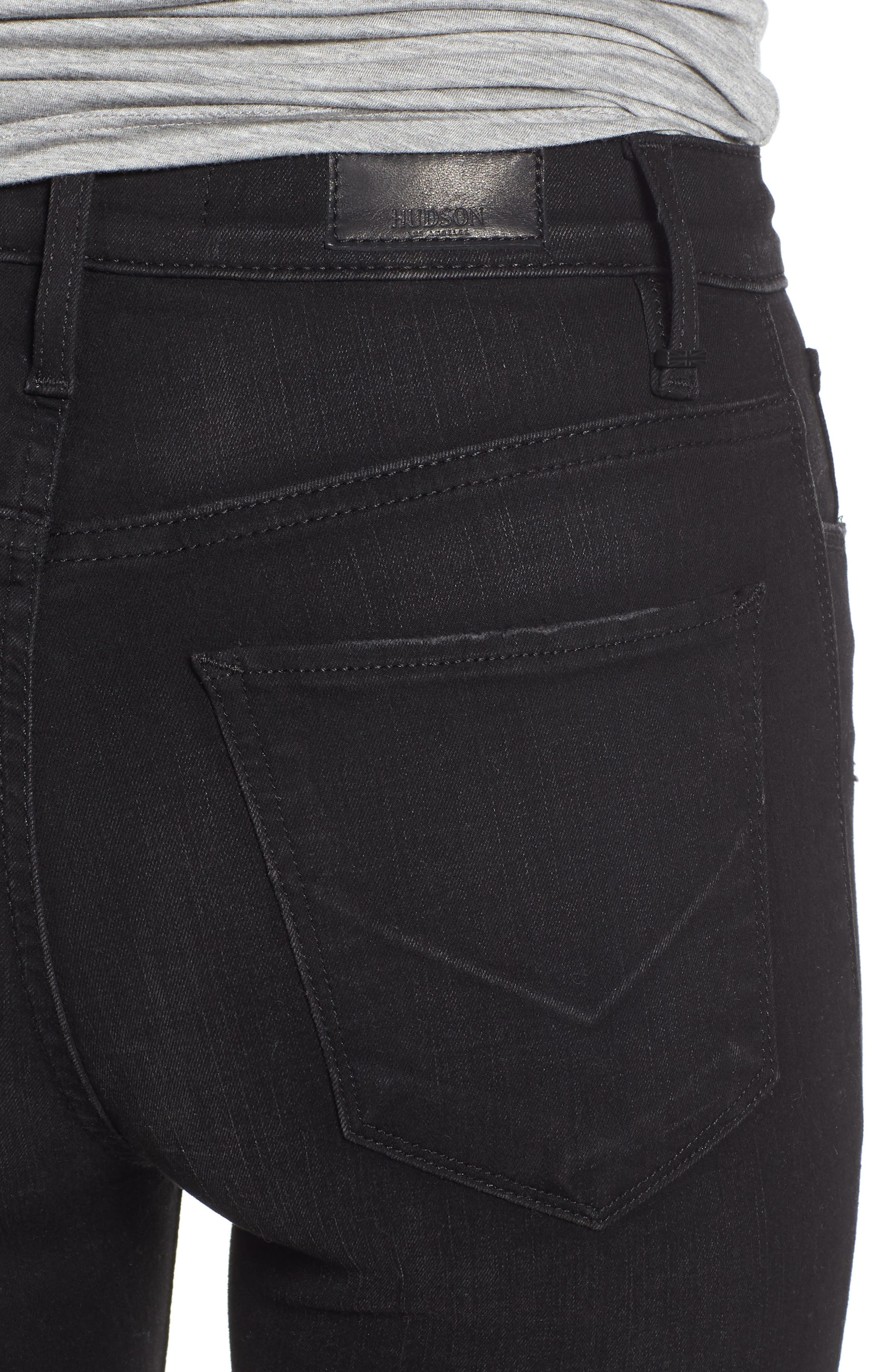Barbara Ripped High Waist Super Skinny Jeans,                             Alternate thumbnail 4, color,                             WESTBOUND