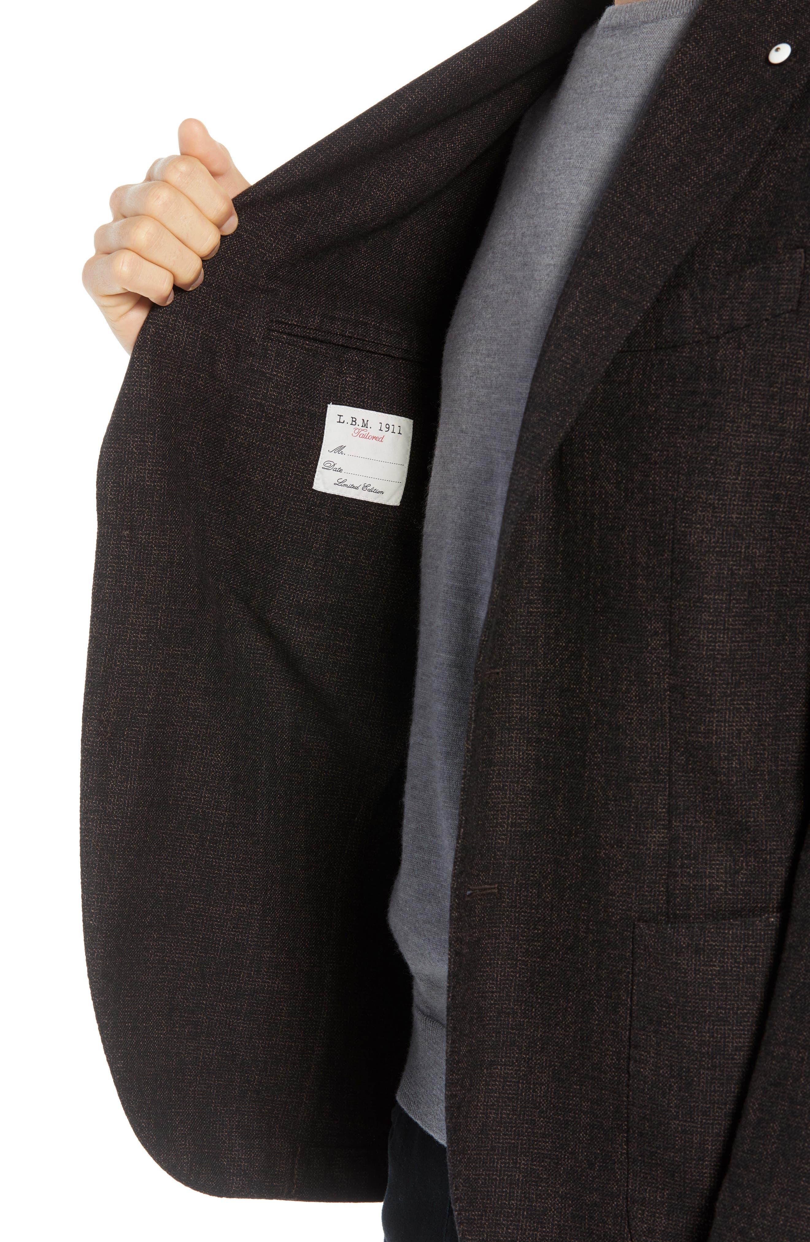 L.B.M 1911 Classic Fit Cotton & Wool Blazer,                             Alternate thumbnail 4, color,                             BROWN