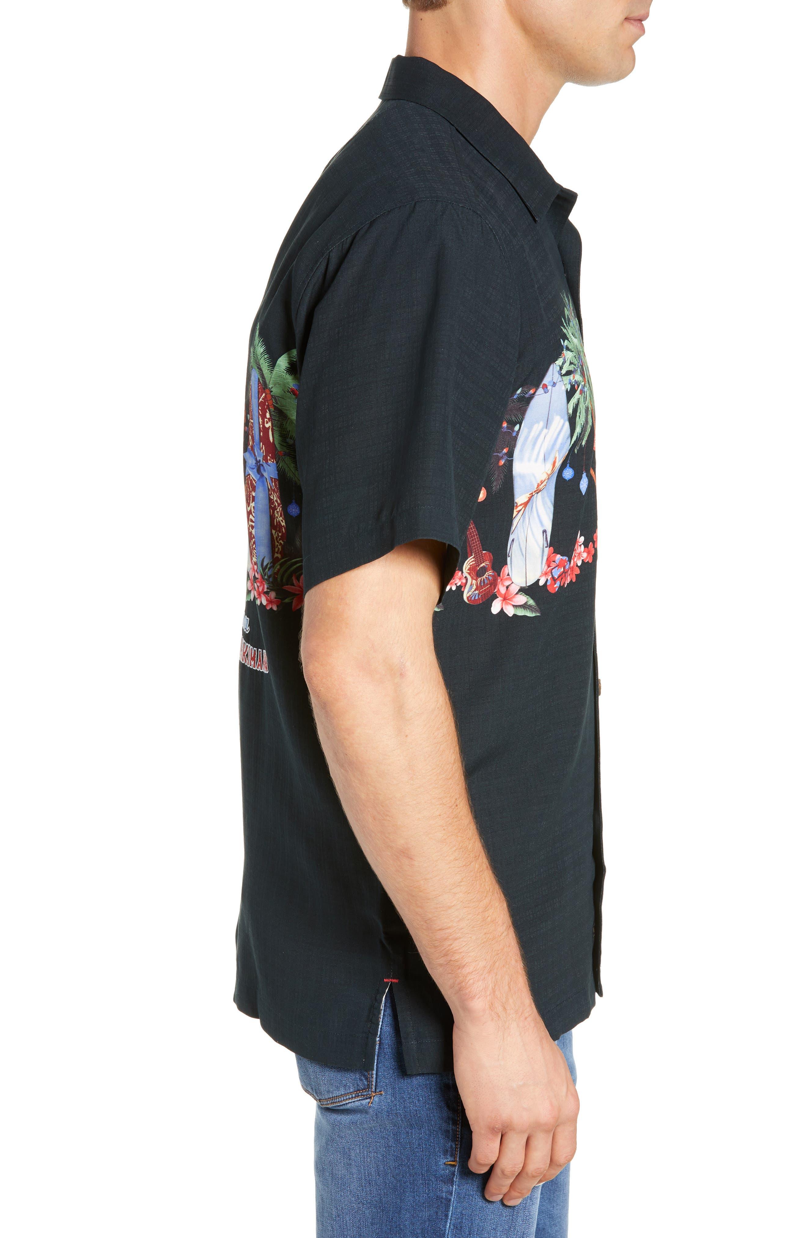 Mele Kalikimaka Silk Camp Shirt,                             Alternate thumbnail 4, color,                             BLACK