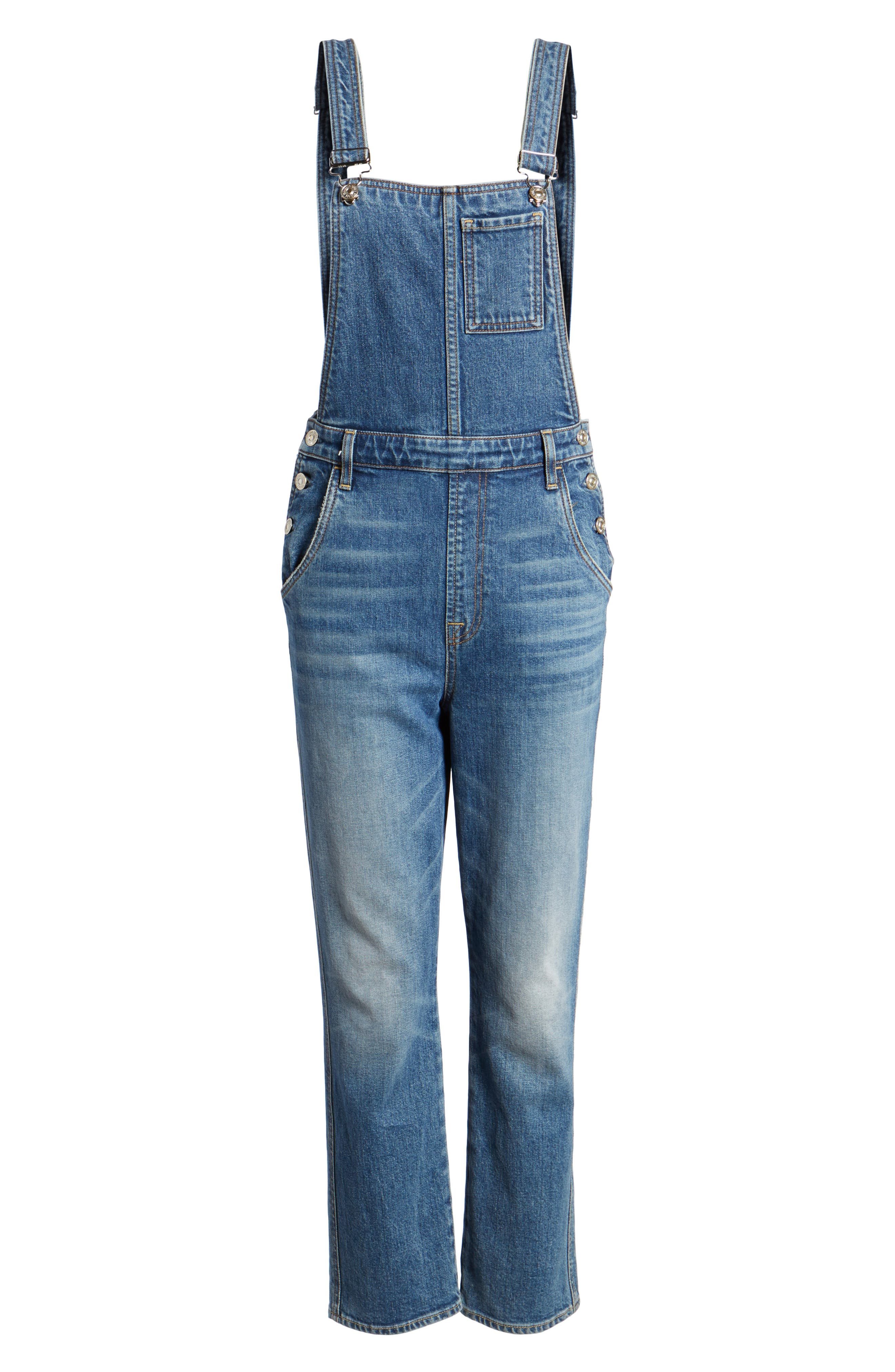 Edie Denim Overalls,                             Alternate thumbnail 6, color,                             401