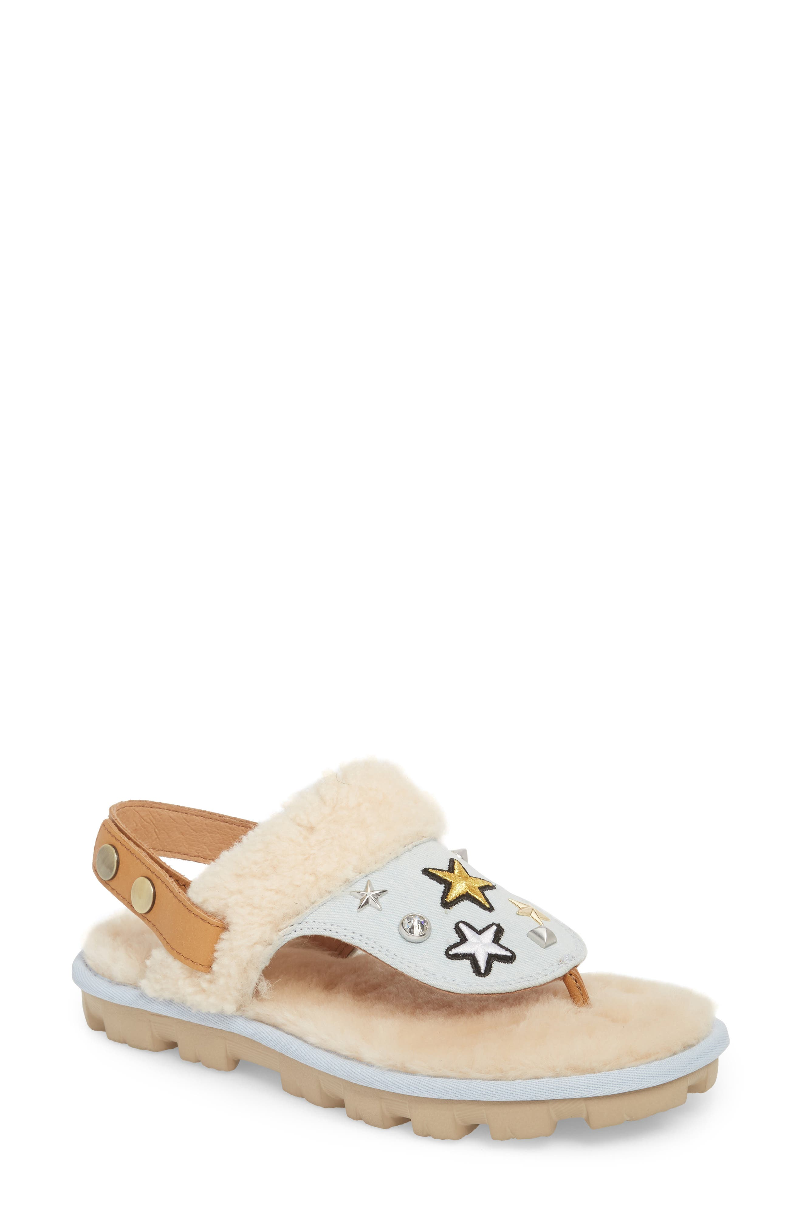 Patch It Slingback Sandal with Genuine Shearling Trim,                             Main thumbnail 1, color,                             BLEACH DENIM