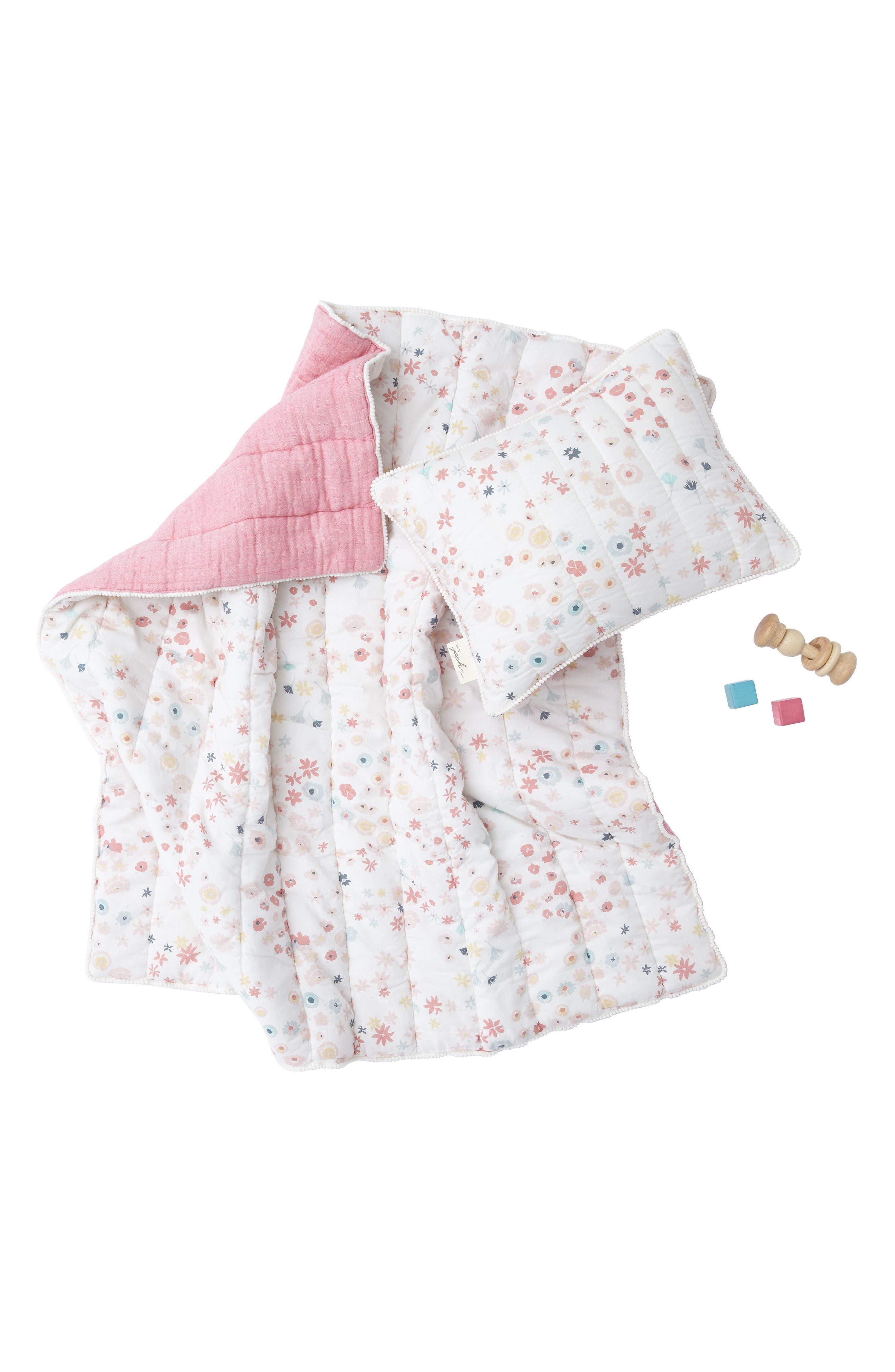 Showers Crib Sheet, Swaddle, Blanket & Pillow Set,                             Alternate thumbnail 2, color,                             PINK
