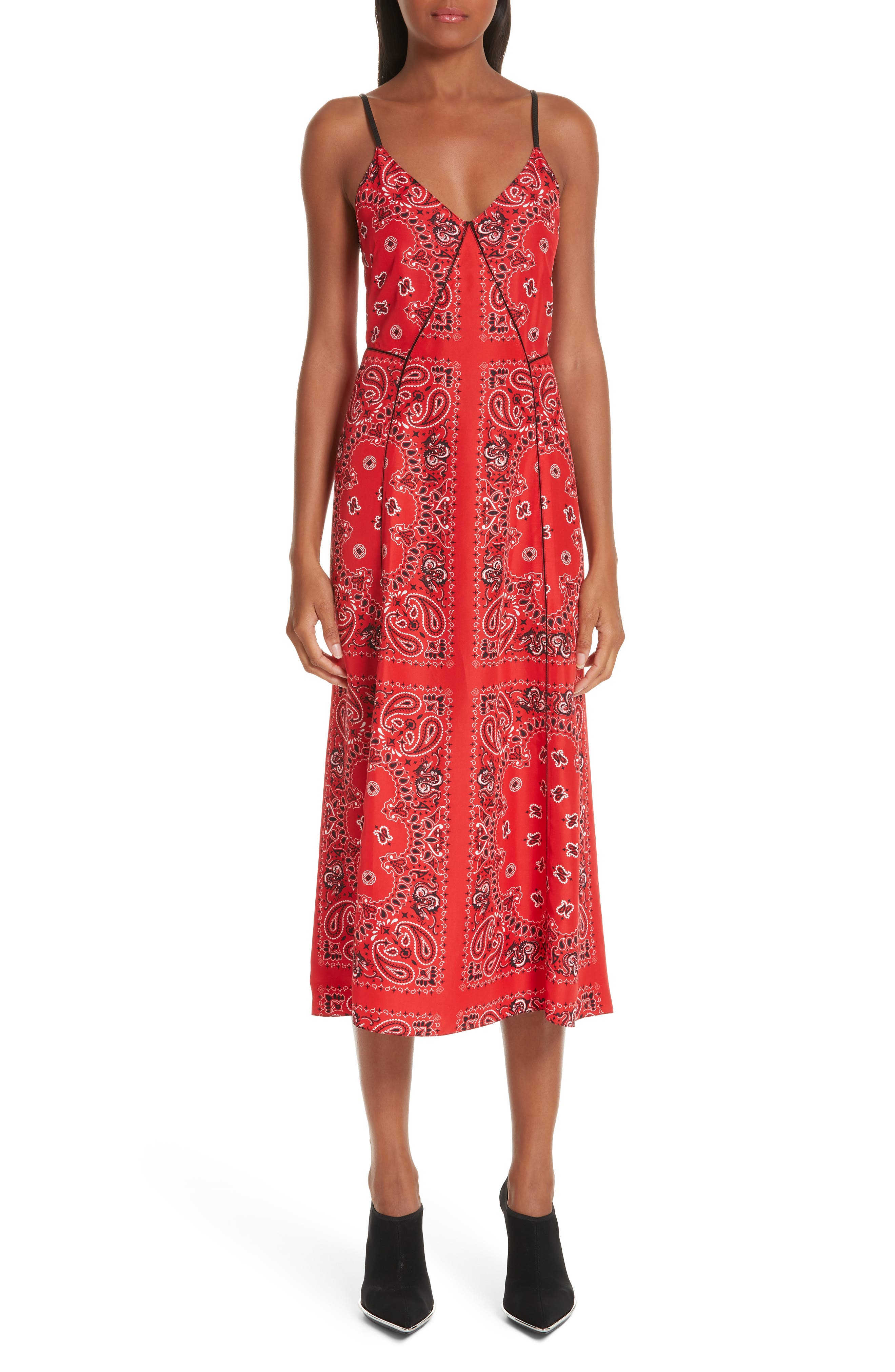 Alexander Wang Bandana Print Slipdress, Red