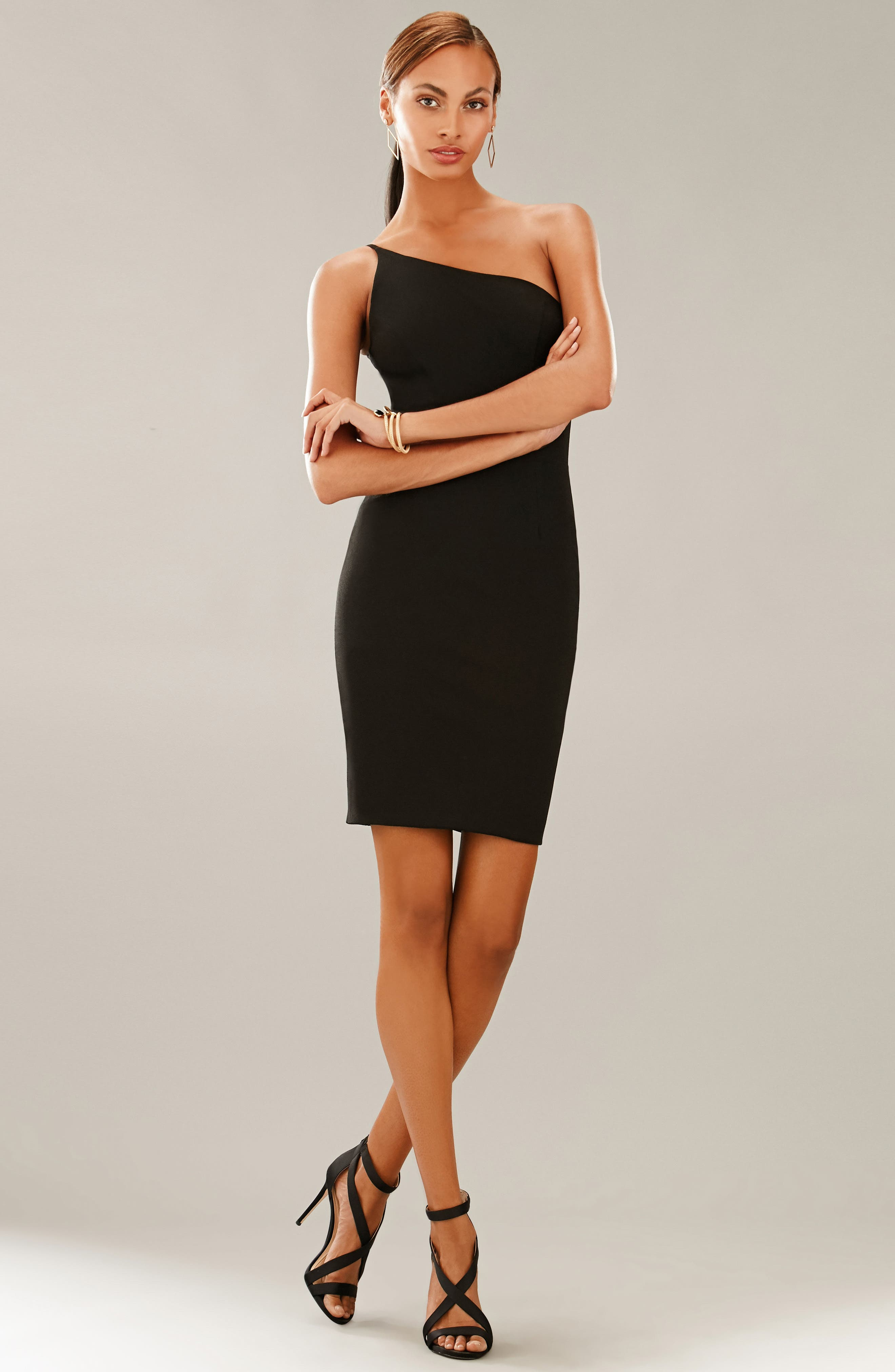 Jennifer One-Shoulder Body-Con Dress,                             Alternate thumbnail 4, color,                             001
