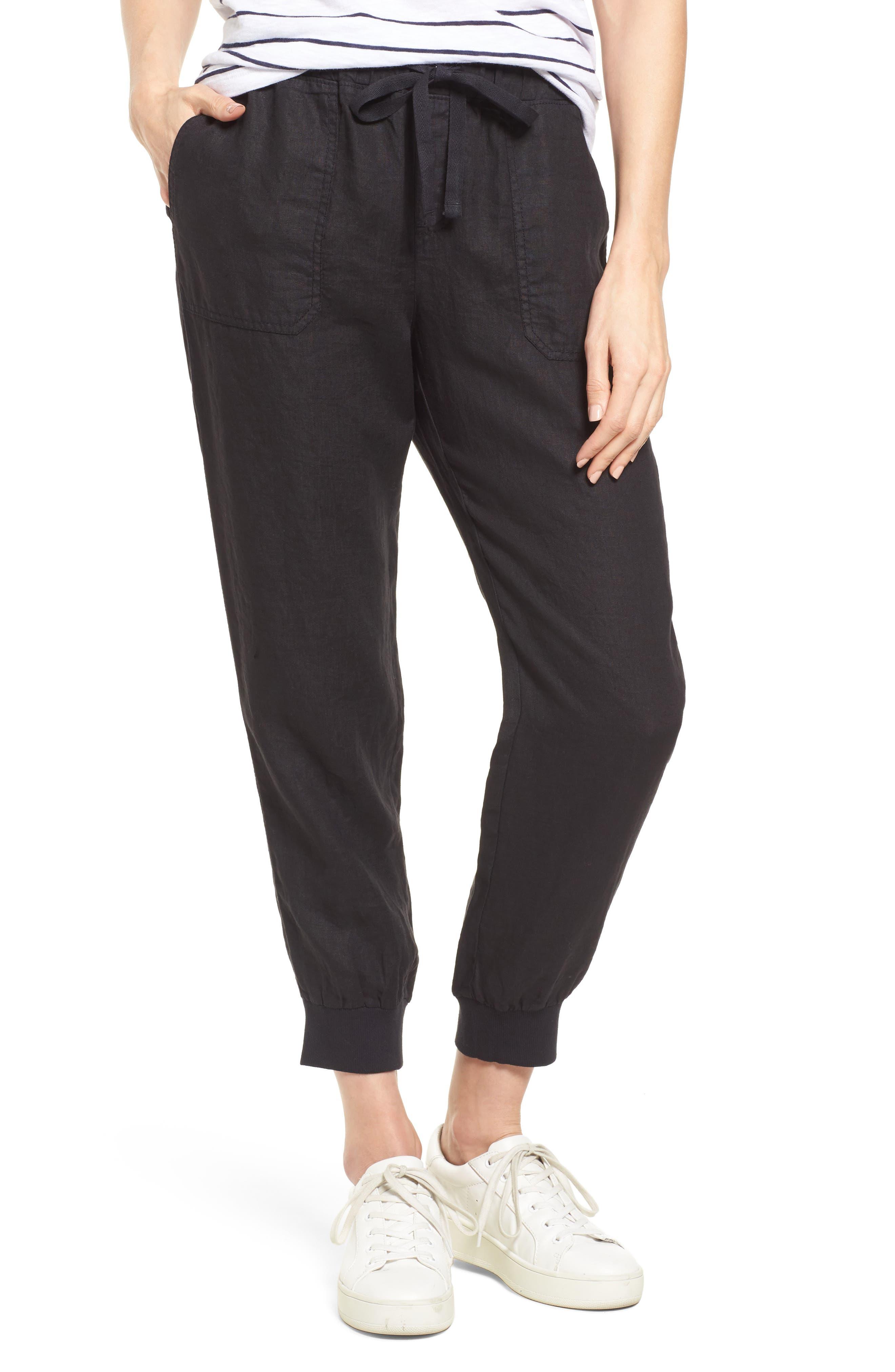 Linen Jogger Pants,                         Main,                         color, BLACK