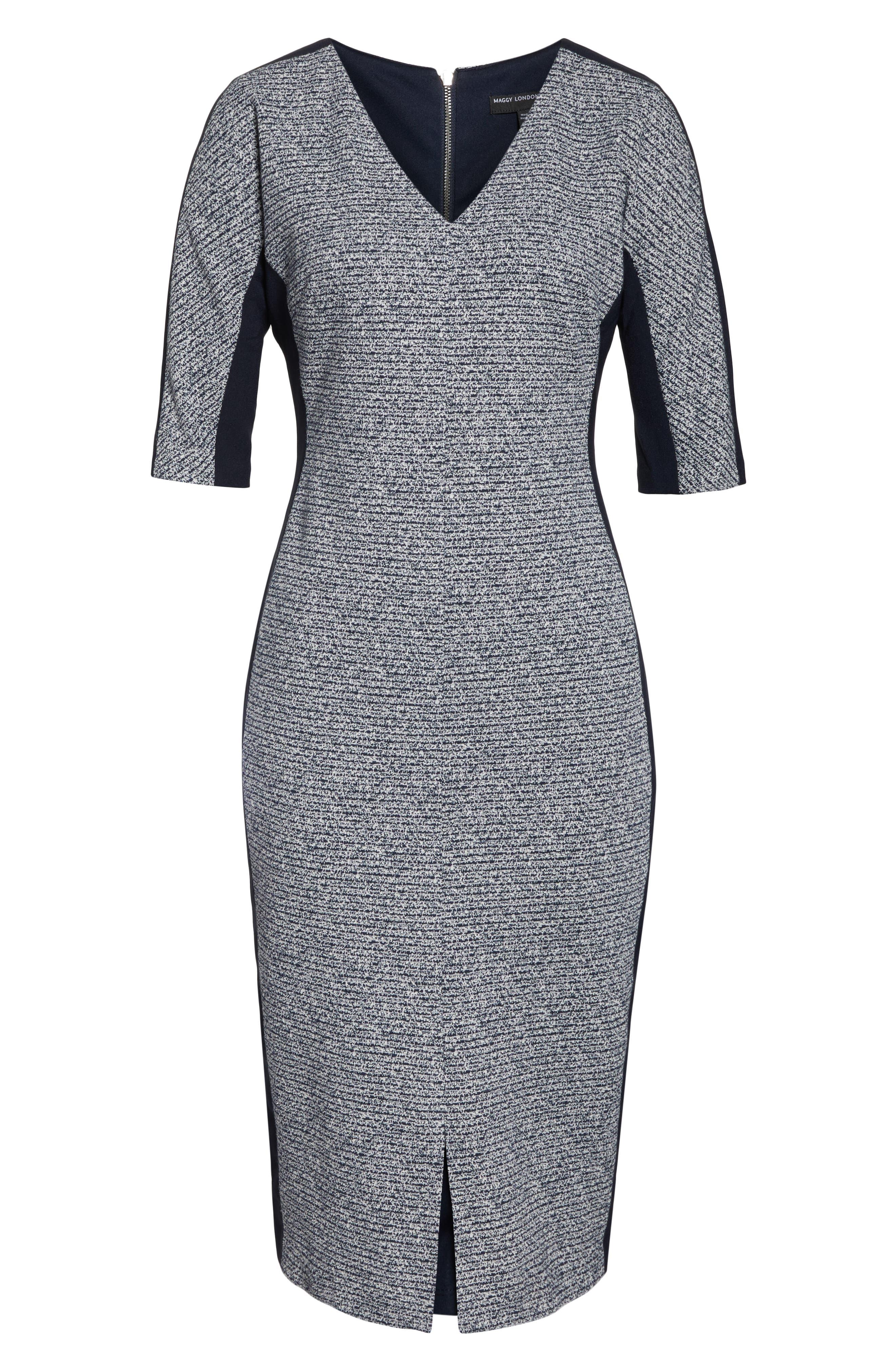 Metallic Ribbed Tweed V-Neck Sheath Dress,                             Alternate thumbnail 3, color,                             NAVY