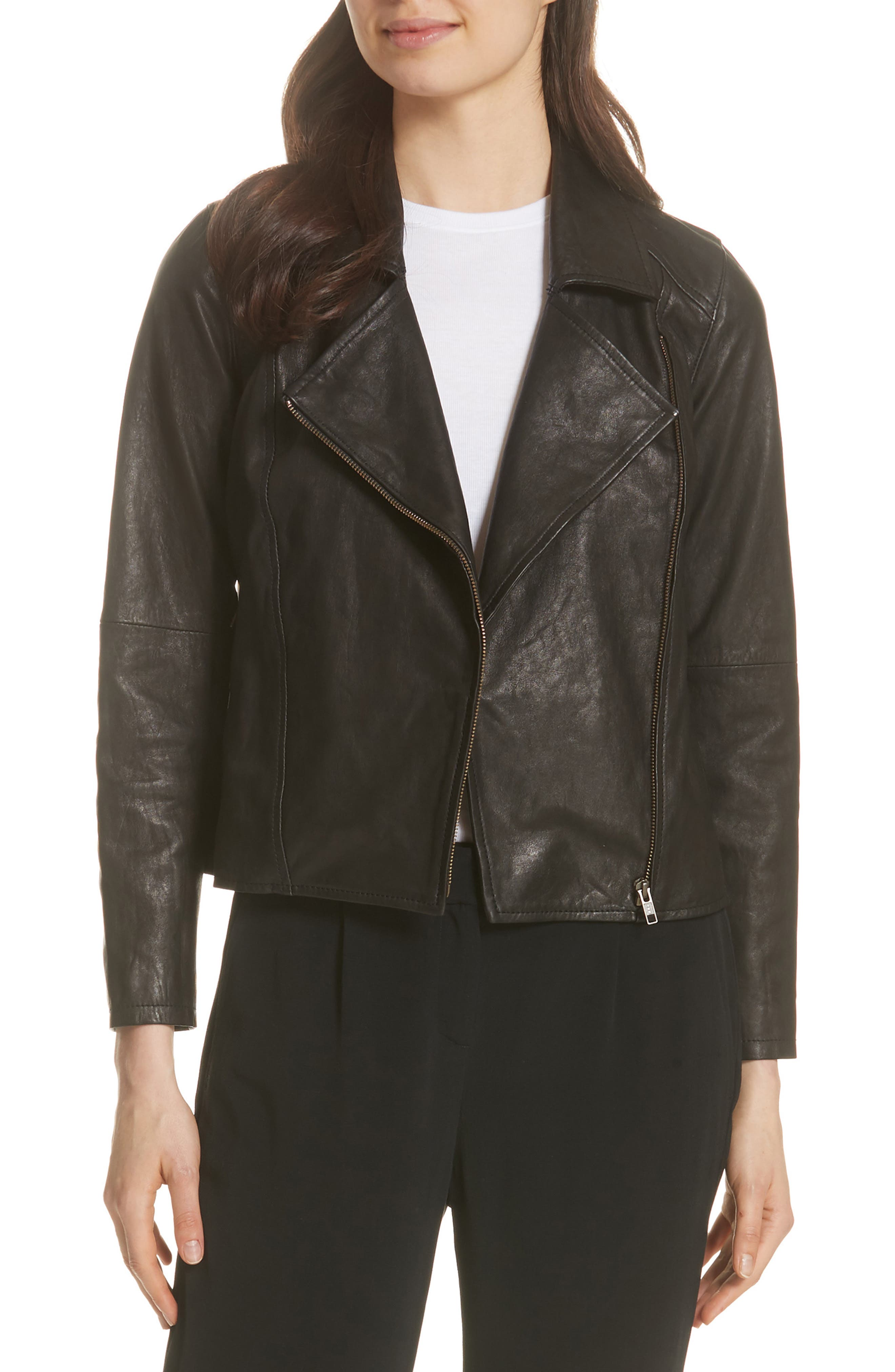 EILEEN FISHER,                             Leather Moto Jacket,                             Main thumbnail 1, color,                             001
