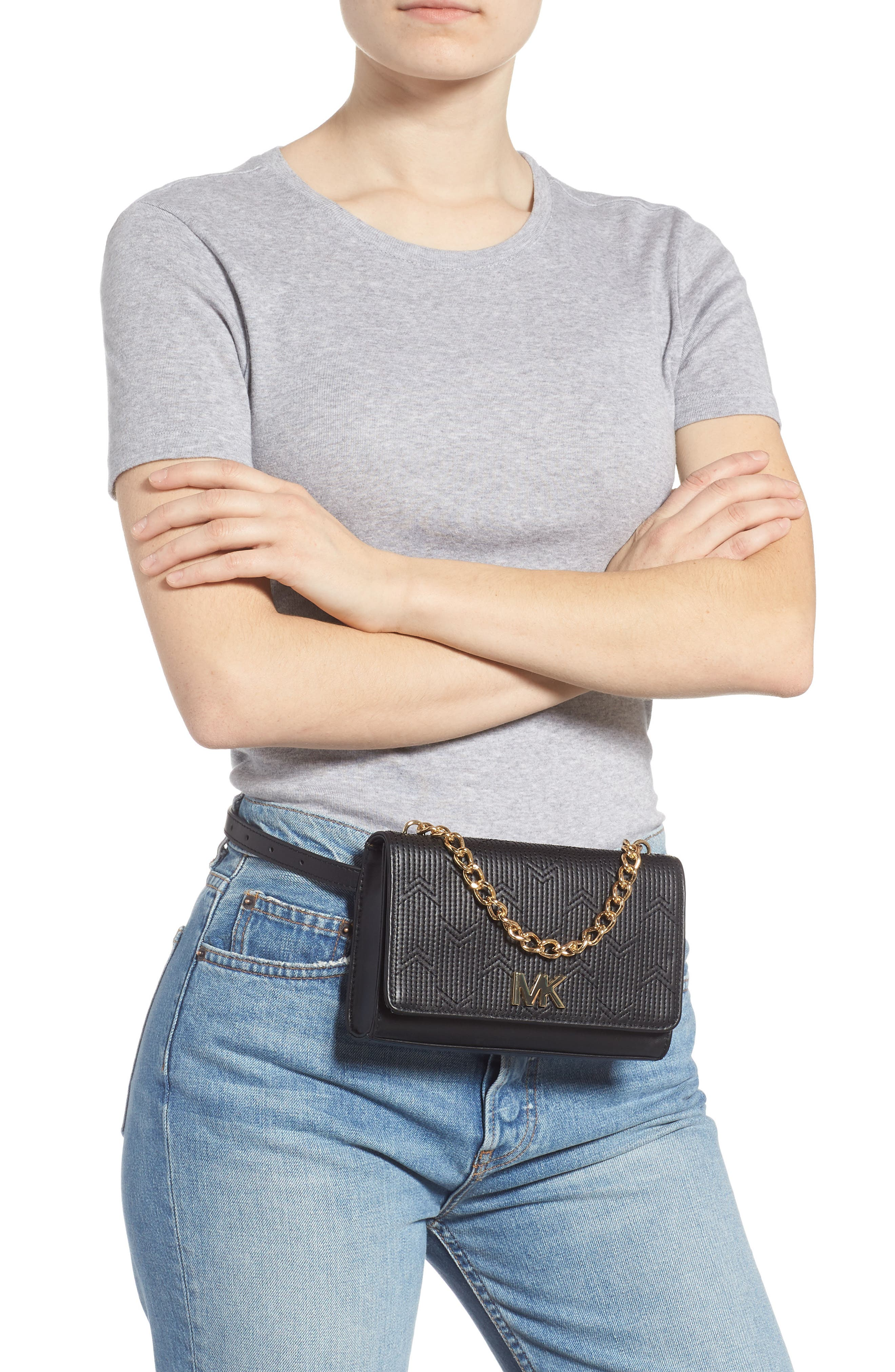 Deco M Quilted Leather Belt Bag,                             Alternate thumbnail 2, color,                             BLACK