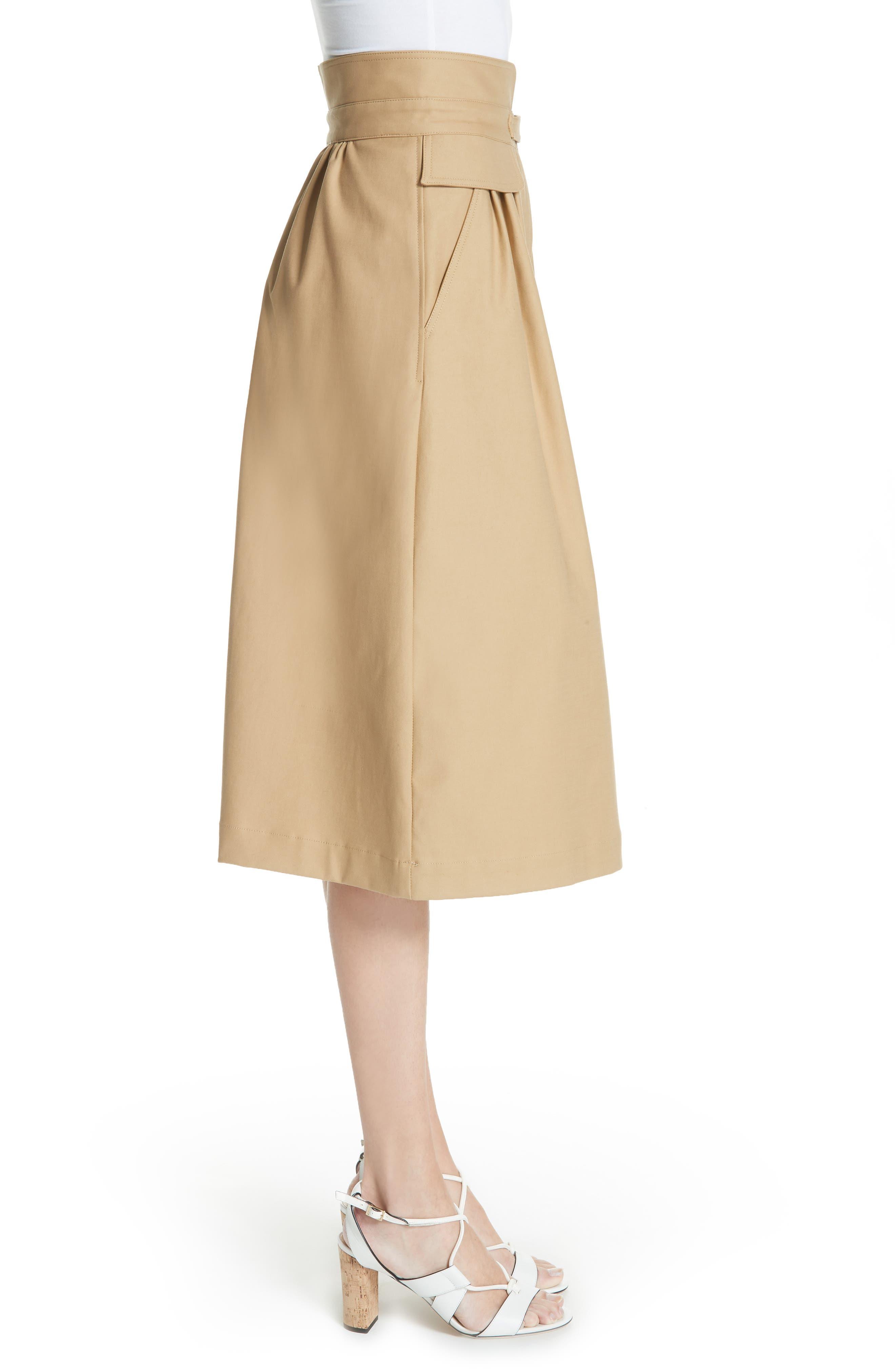 Kamille Peplum Waist Skirt,                             Alternate thumbnail 3, color,                             KHAKI