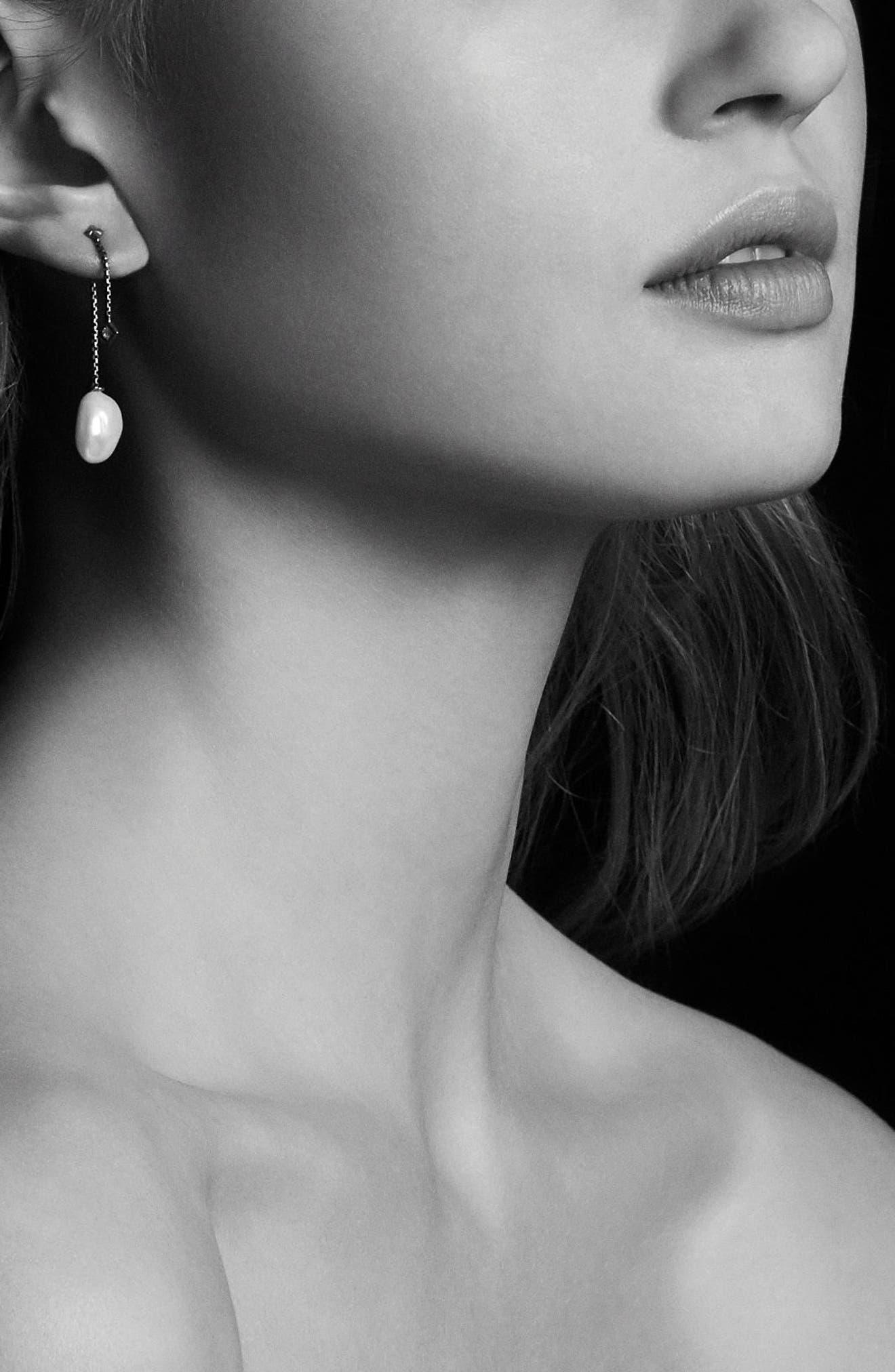 Solari Pearl & Diamond Drop Earrings,                             Alternate thumbnail 3, color,                             SILVER/ PEARL