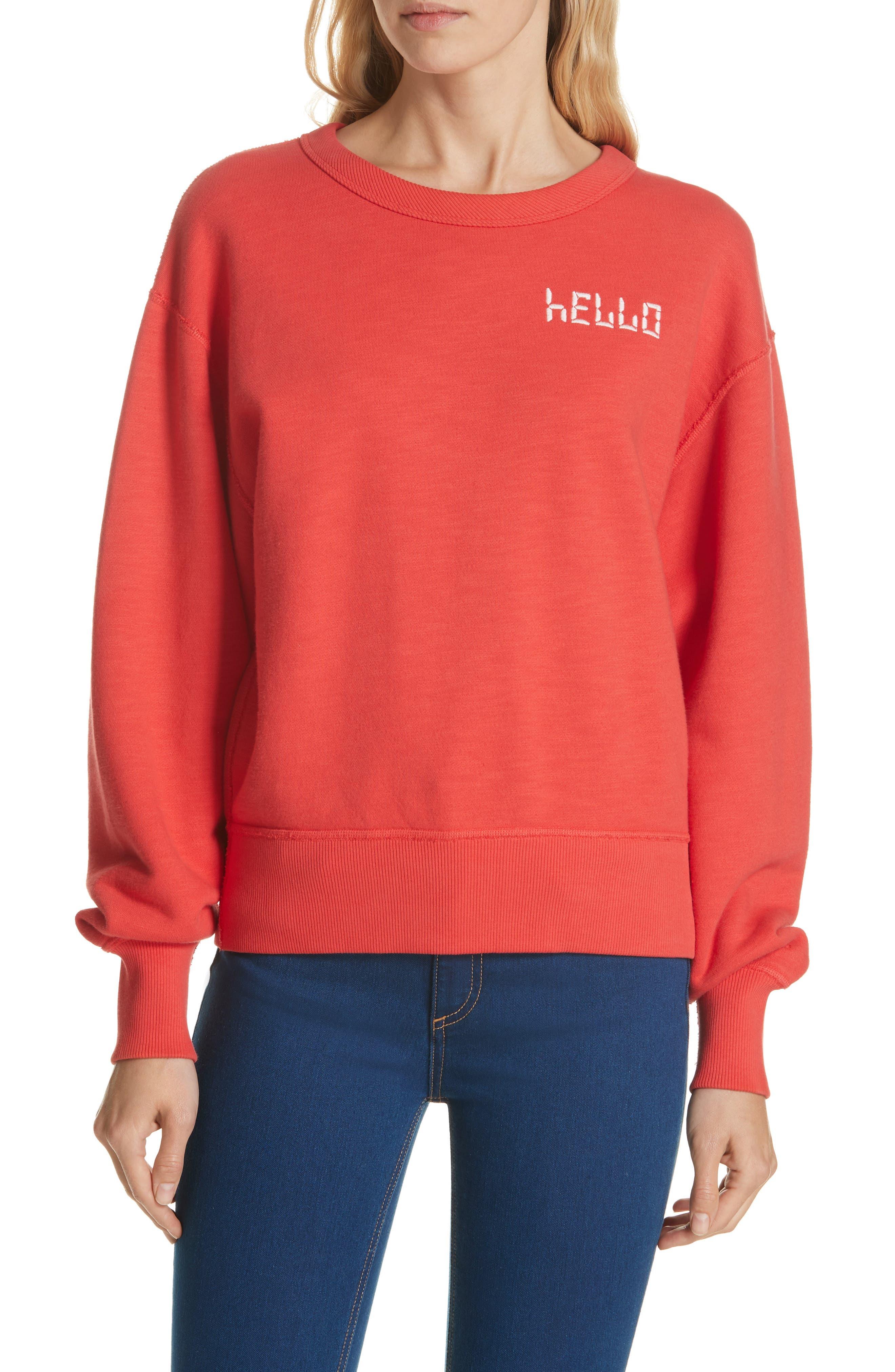 Hello Sweatshirt,                         Main,                         color, CANDY APPLE