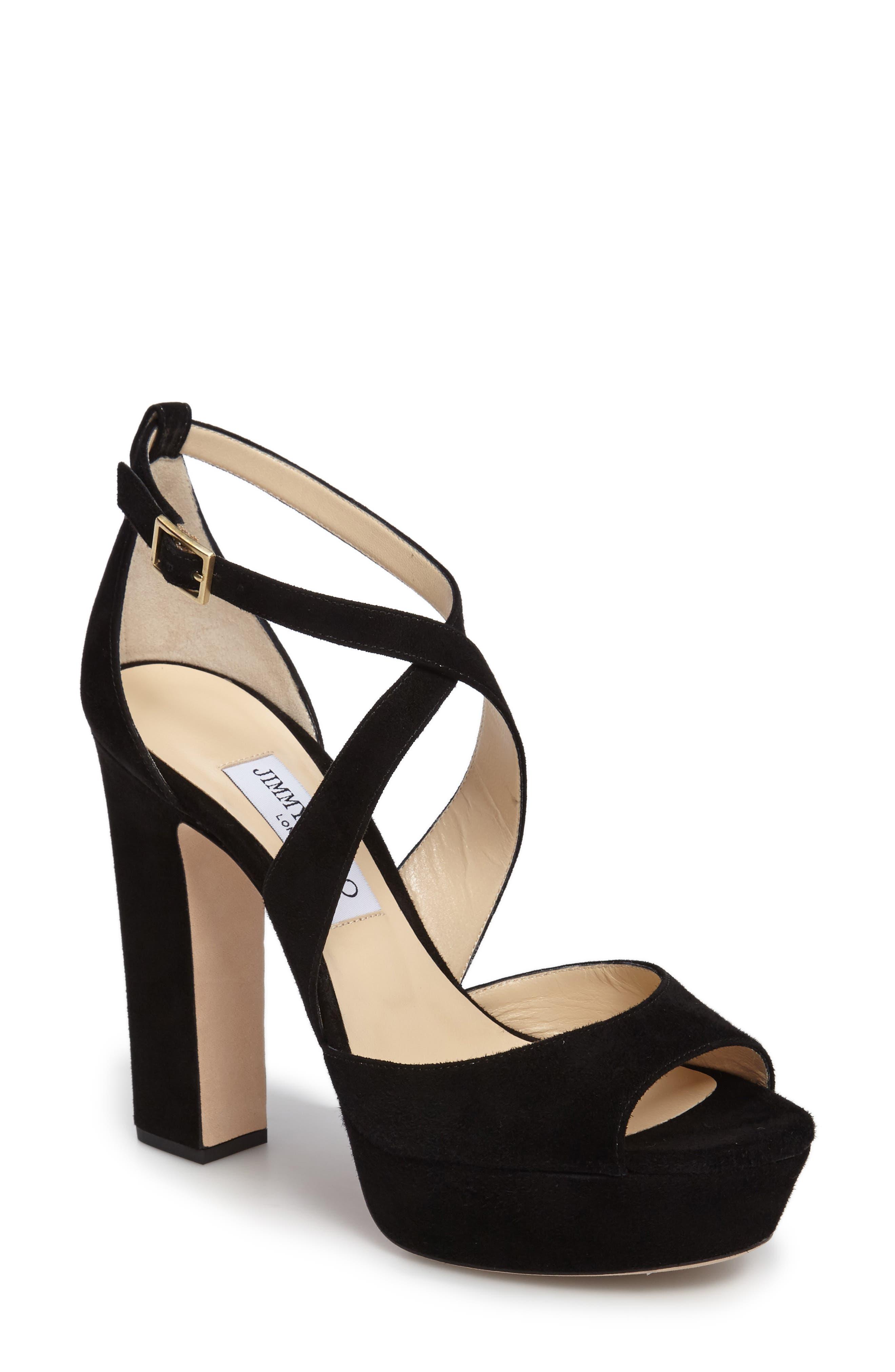 April Platform Sandal,                         Main,                         color, BLACK SUEDE