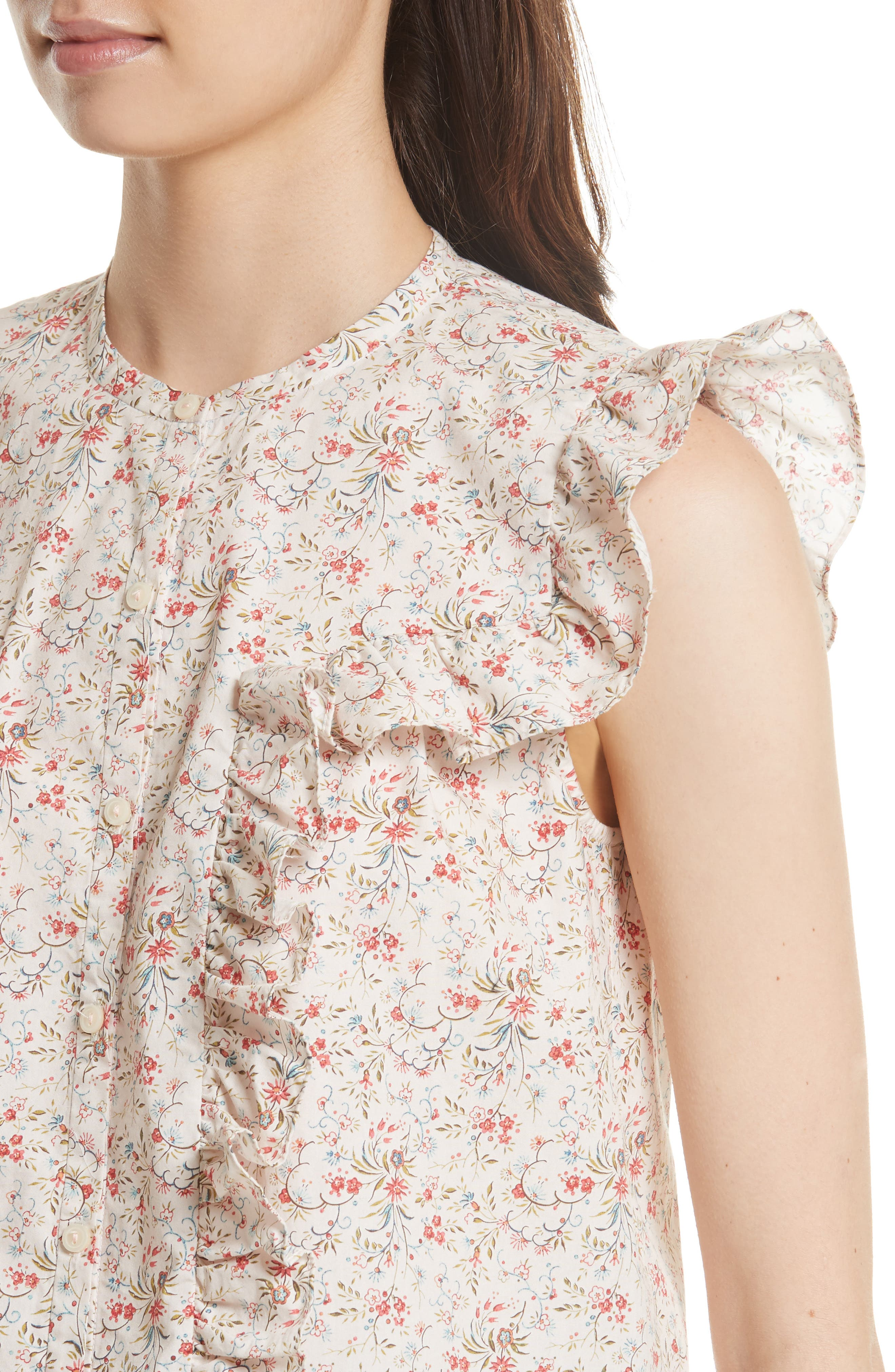 Brittany Sleeveless Floral Blouse,                             Alternate thumbnail 4, color,                             902