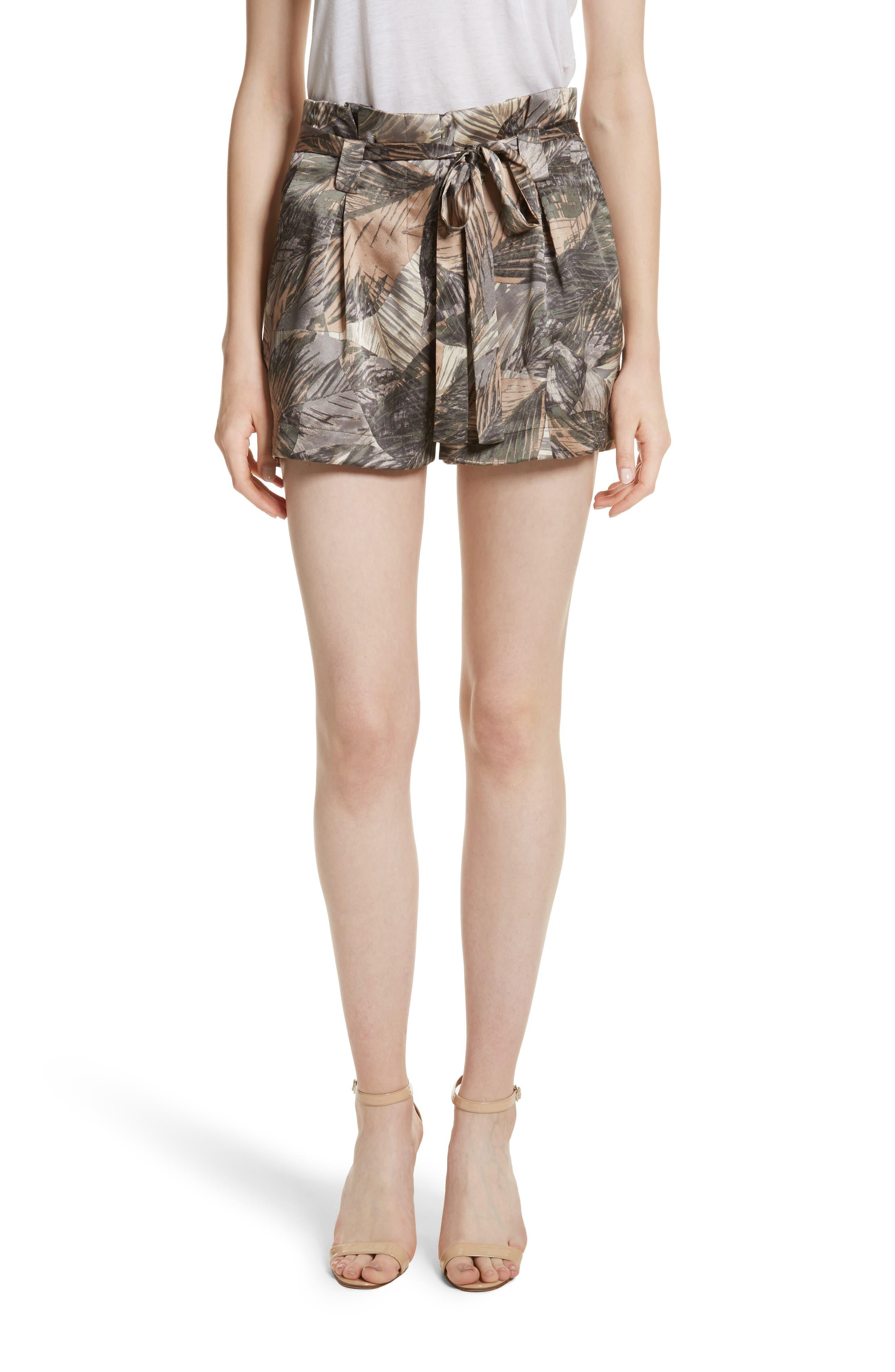 Alex Palm Print Silk Paperbag Shorts,                             Main thumbnail 1, color,