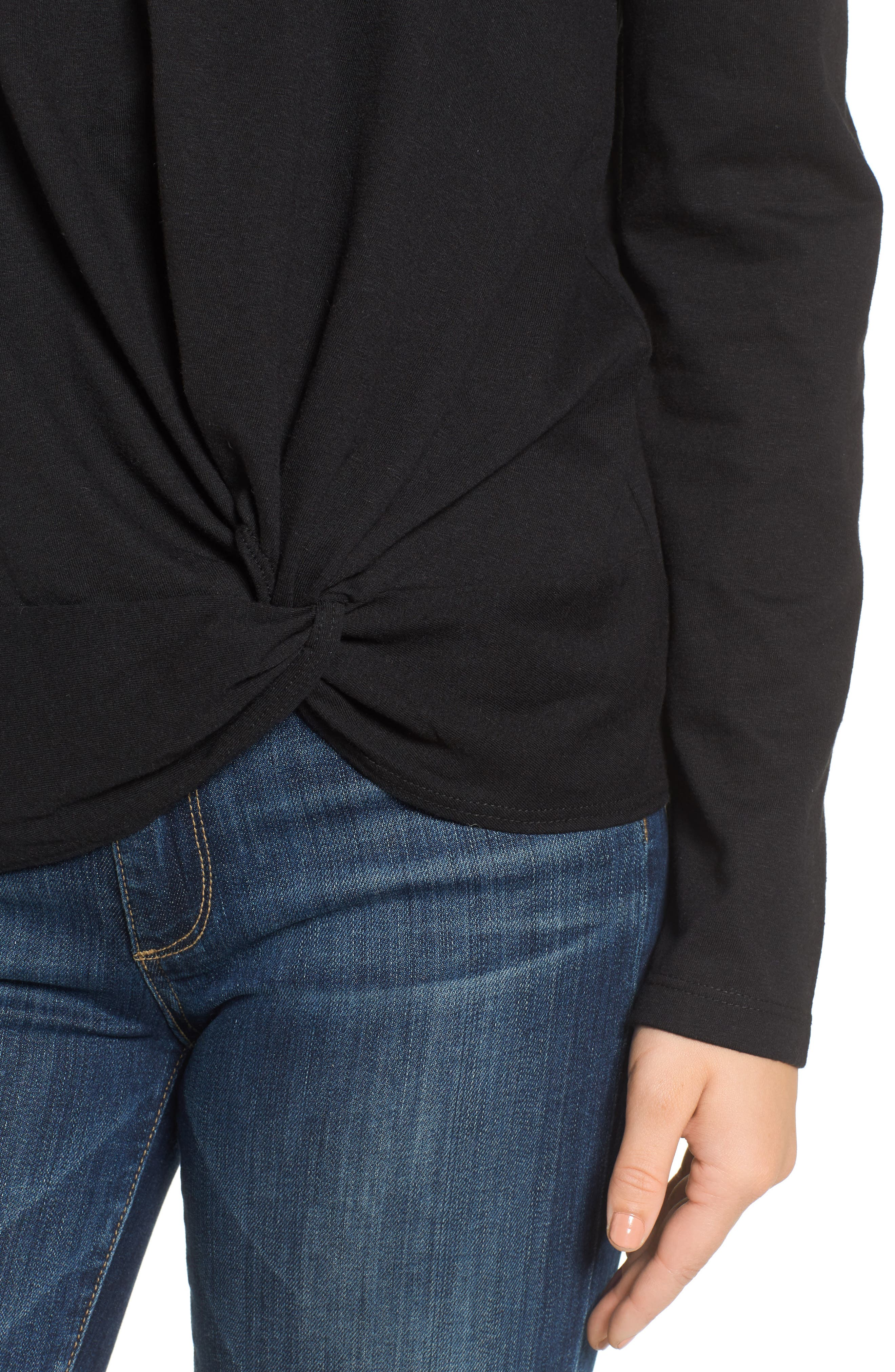 Long Sleeve Front Knot Tee,                             Alternate thumbnail 4, color,                             BLACK