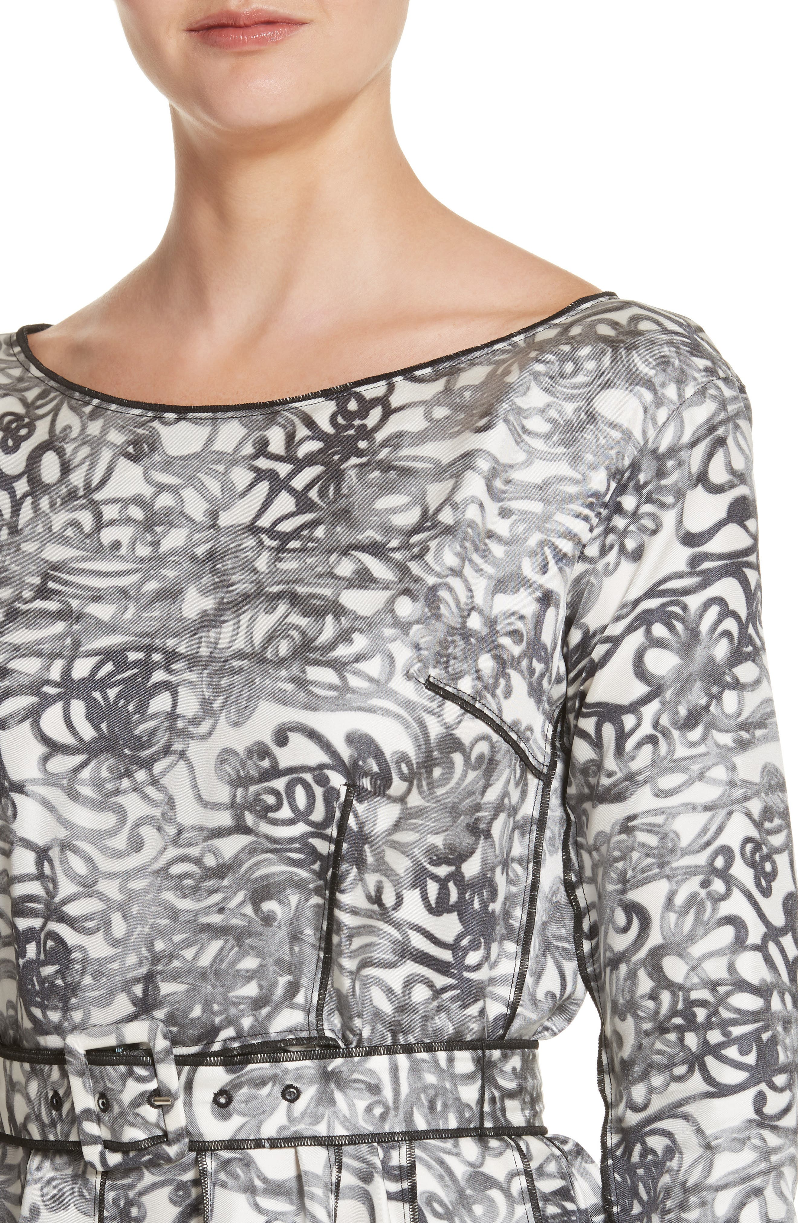 Squiggle Print Gored Dress,                             Alternate thumbnail 4, color,                             002