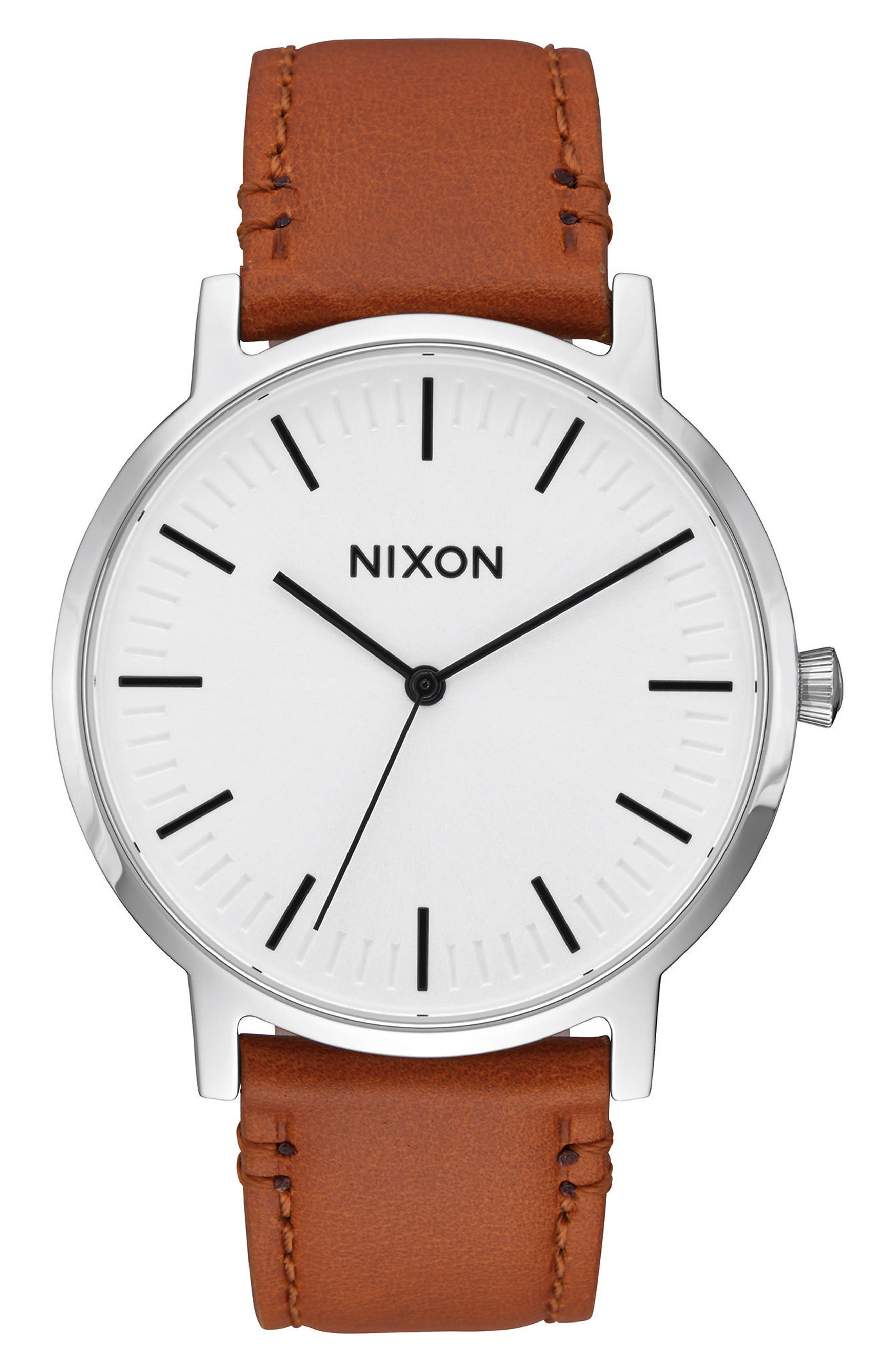 Porter Round Leather Strap Watch, 40mm,                             Main thumbnail 1, color,                             SADDLE/ WHITE/ SILVER