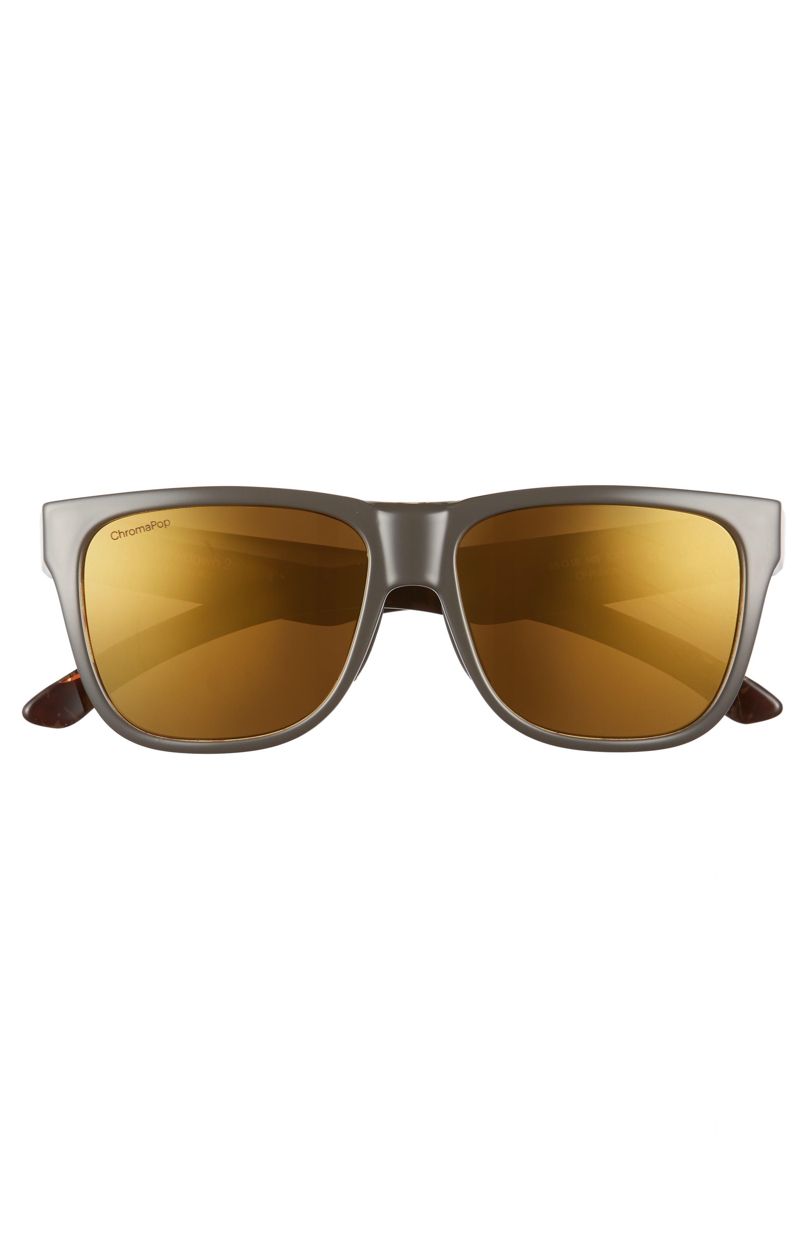 Lowdown 2 55mm ChromaPop<sup>™</sup> Square Sunglasses,                             Alternate thumbnail 3, color,                             GRAVY TORTOISE