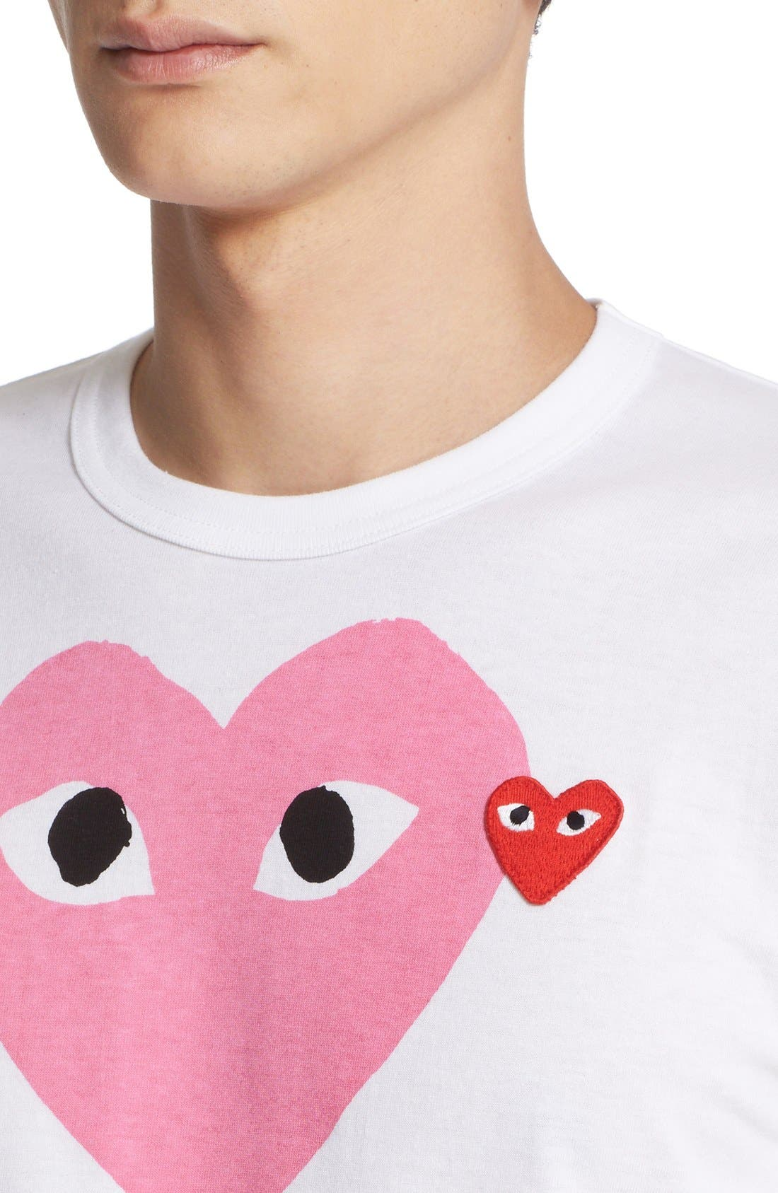 Comme des Garçons PLAY Heart Print T-Shirt,                             Alternate thumbnail 2, color,                             PINK