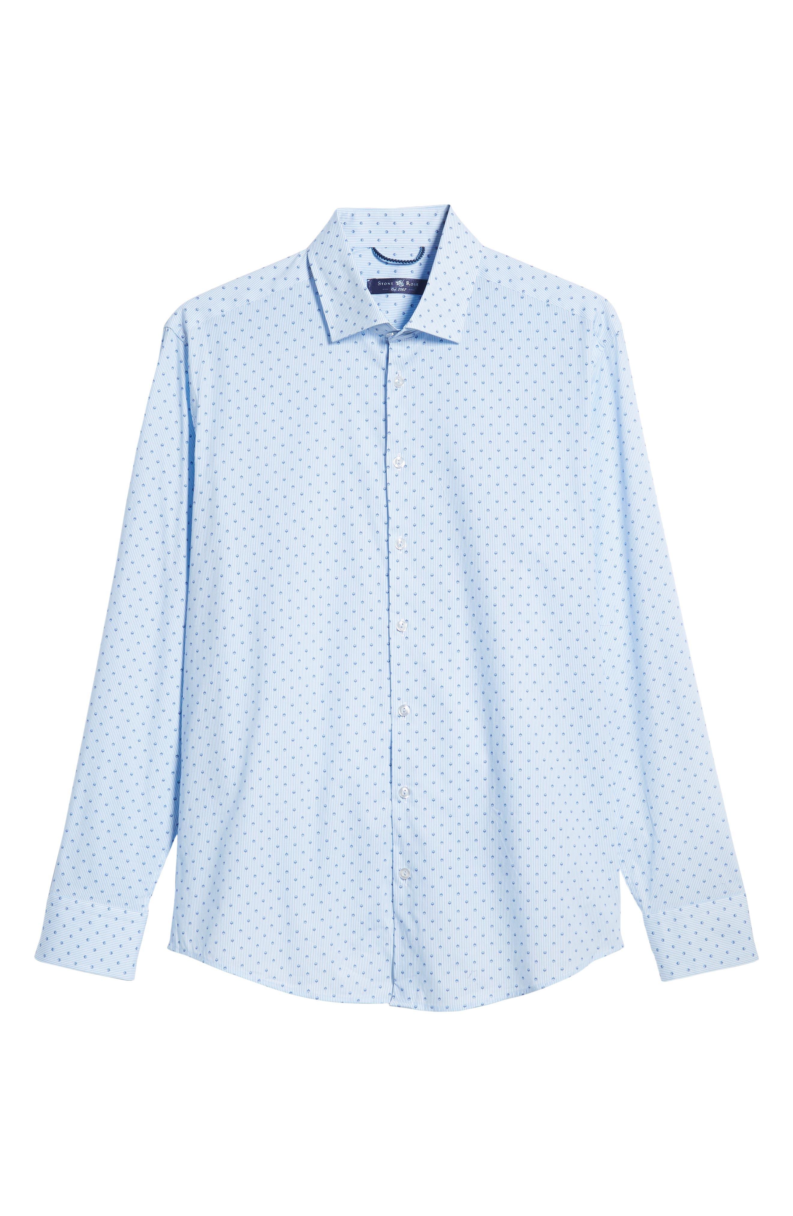 Trim Fit Print Sport Shirt,                             Alternate thumbnail 5, color,                             BLUE