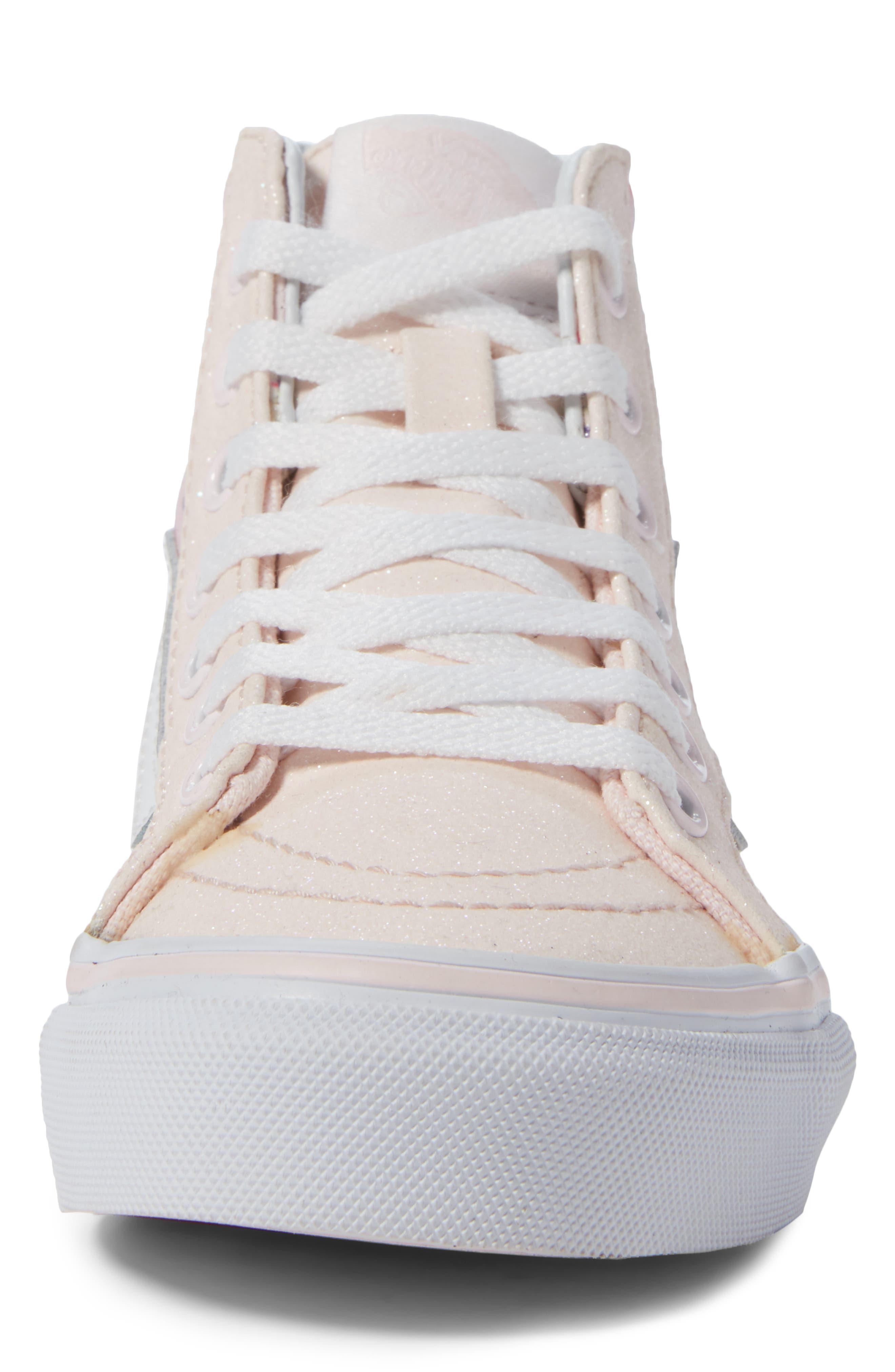 Sk8-Hi Zip Sneaker,                             Alternate thumbnail 4, color,                             GLITTER PEGASUS PINK/ WHITE