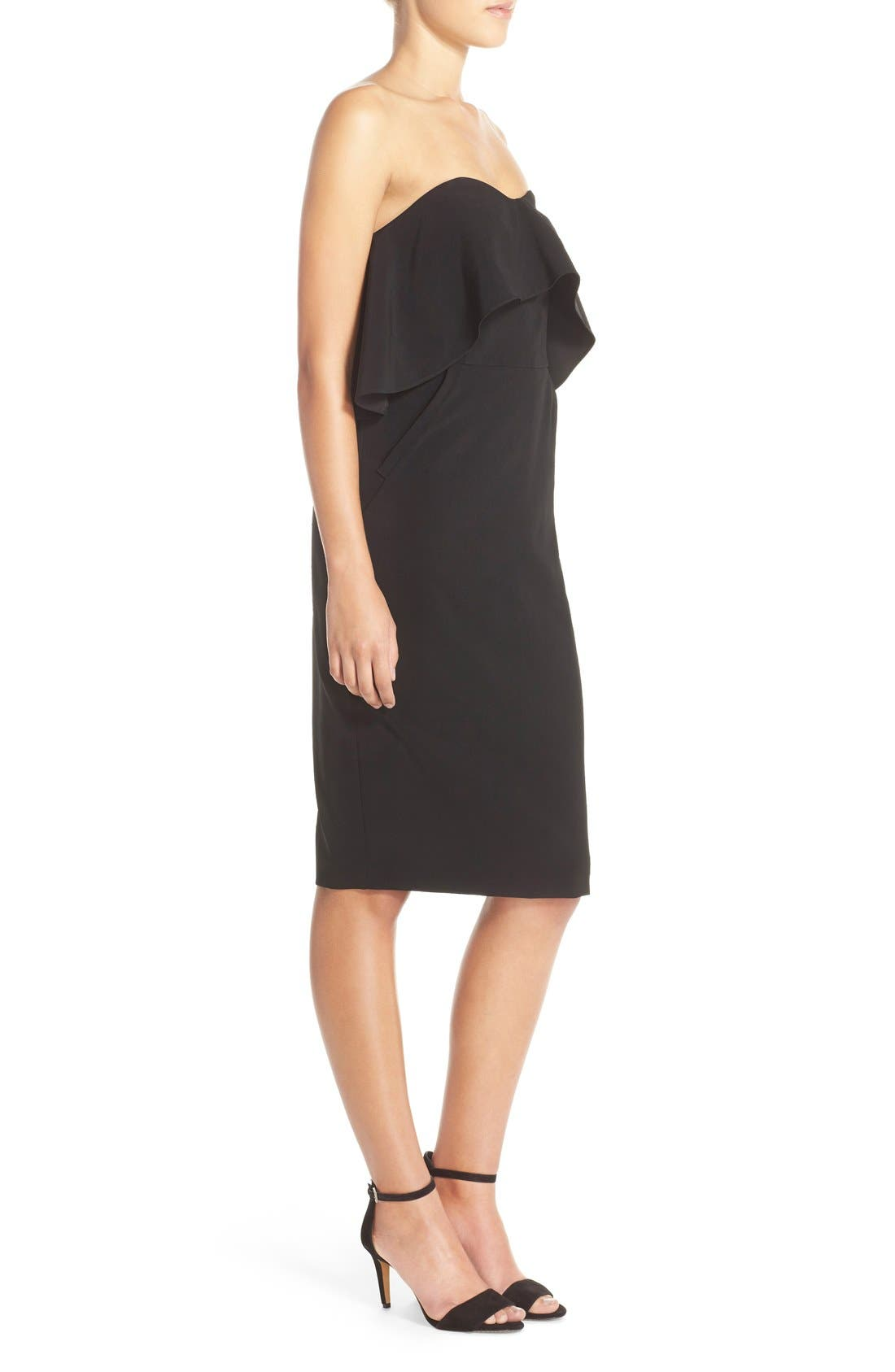 Ruffle Stretch Crepe Sheath Dress,                             Alternate thumbnail 3, color,                             001