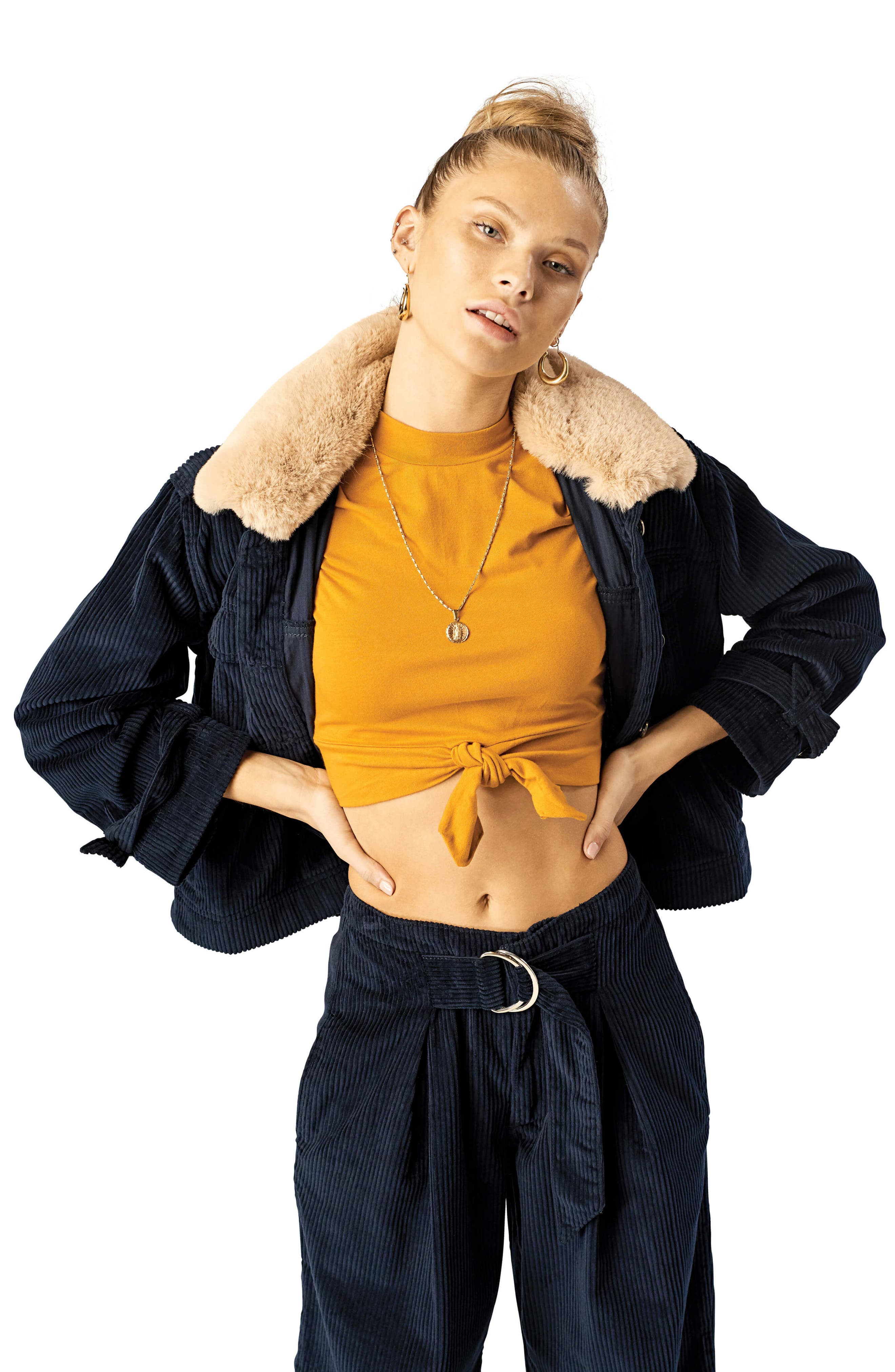 STONE ROW,                             Cut the Cord Faux Fur Collar Corduroy Jacket,                             Alternate thumbnail 3, color,                             SEA NAVY