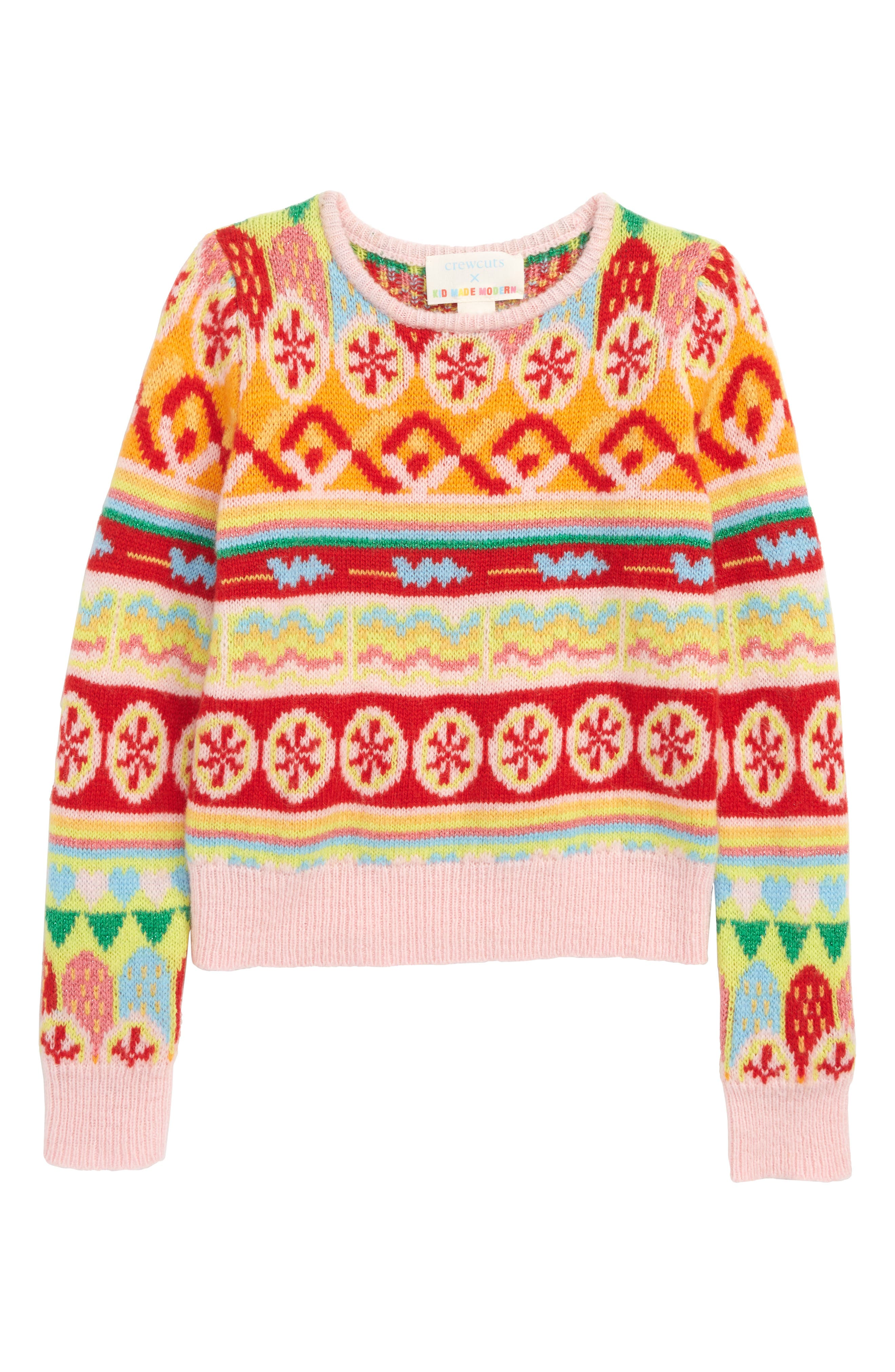 Toddler Girls Crewcuts By Jcrew X Kid Made Modern Fair Isle Sweater Size 3T  Pink