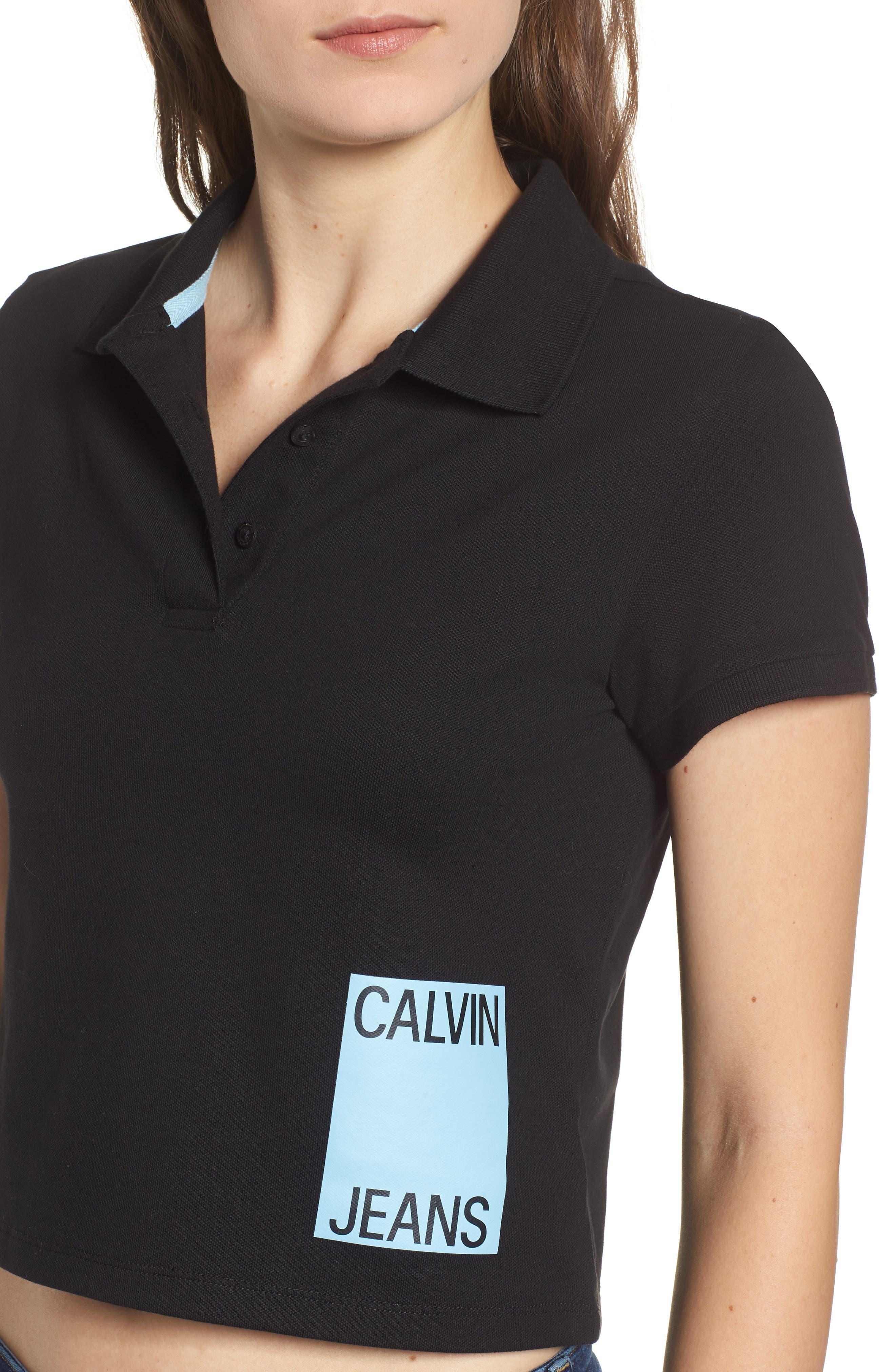 Crop Stretch Cotton Polo Shirt,                             Alternate thumbnail 4, color,                             001