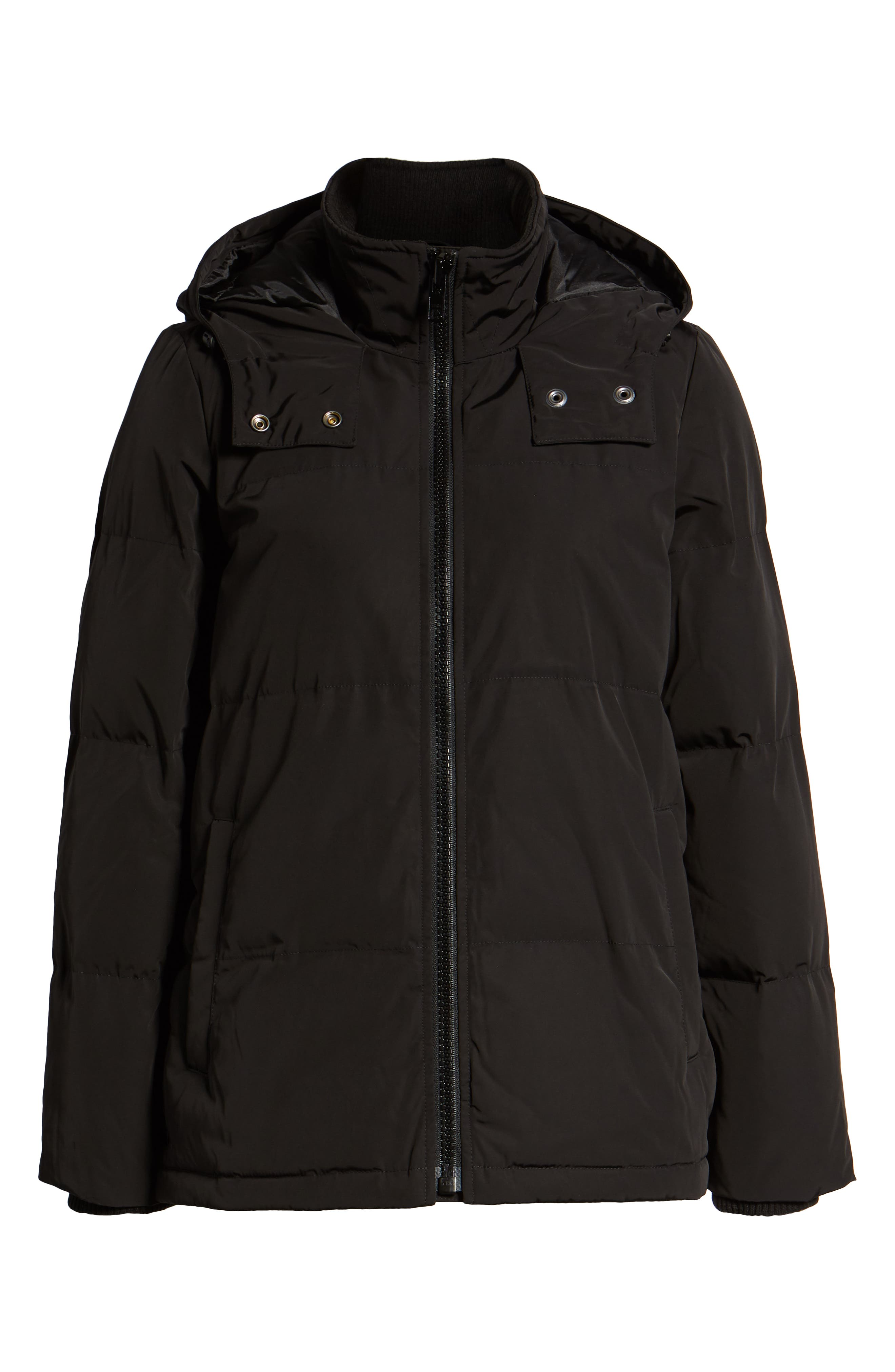 Quilted Puffer Parka,                             Alternate thumbnail 4, color,                             TRUE BLACK