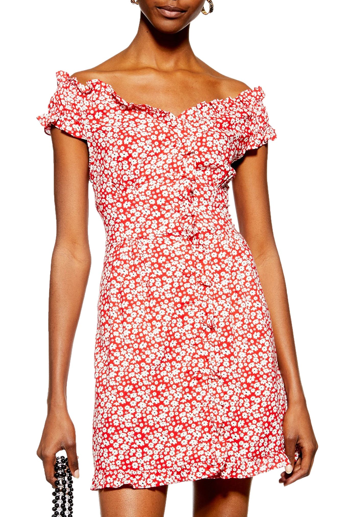 TOPSHOP,                             Ditsy Floral Minidress,                             Main thumbnail 1, color,                             RED MULTI