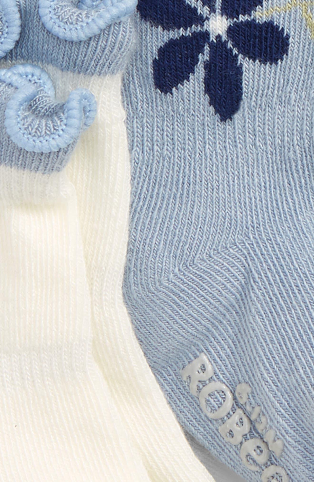 Pretty in Blue 3-Pack Ankle Socks,                             Alternate thumbnail 2, color,                             CREAM/ LIGHT BLUE