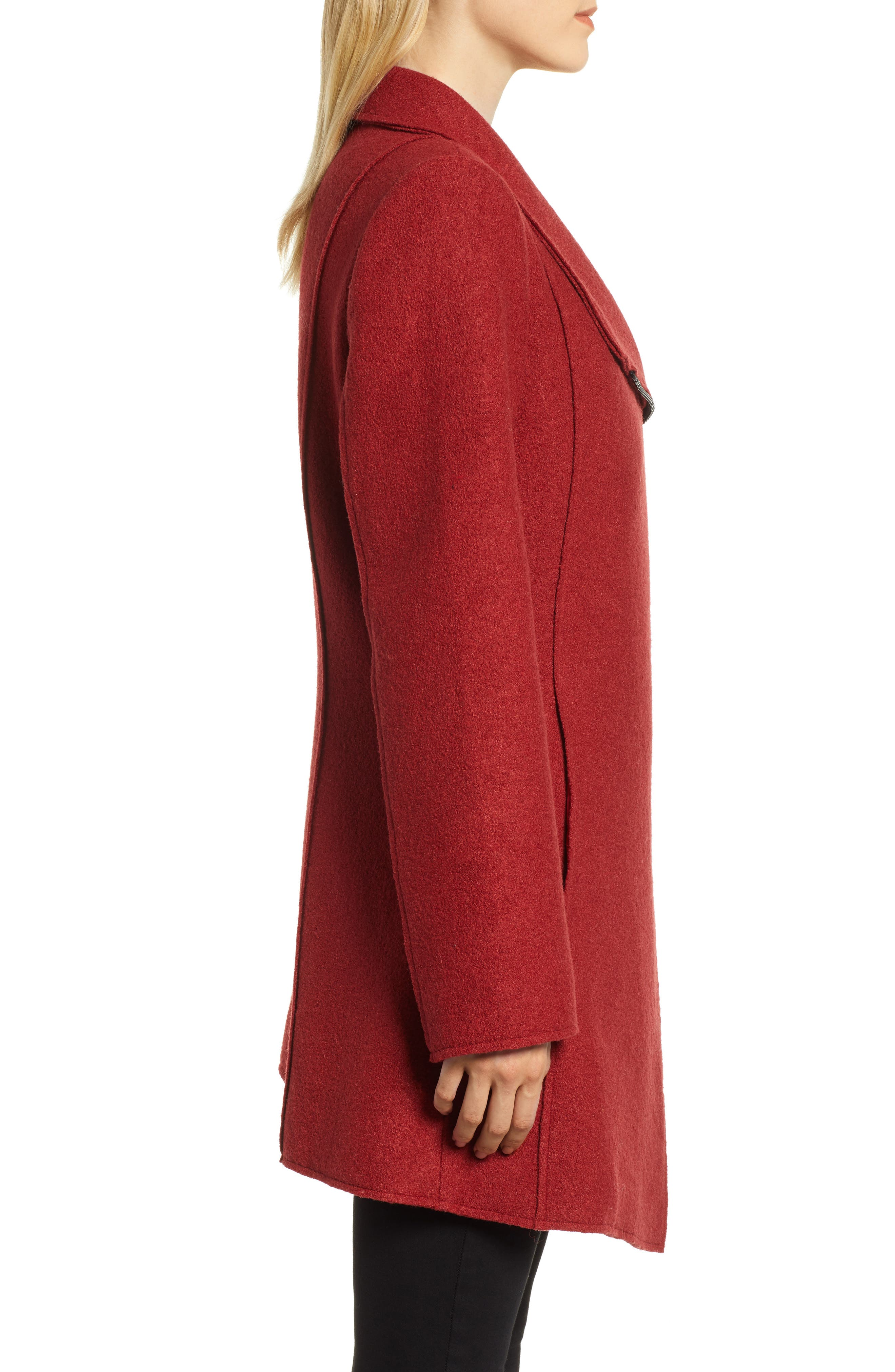 HALOGEN<SUP>®</SUP>,                             Asymmetrical Zip Boiled Wool Blend Coat,                             Alternate thumbnail 3, color,                             BRICK RED