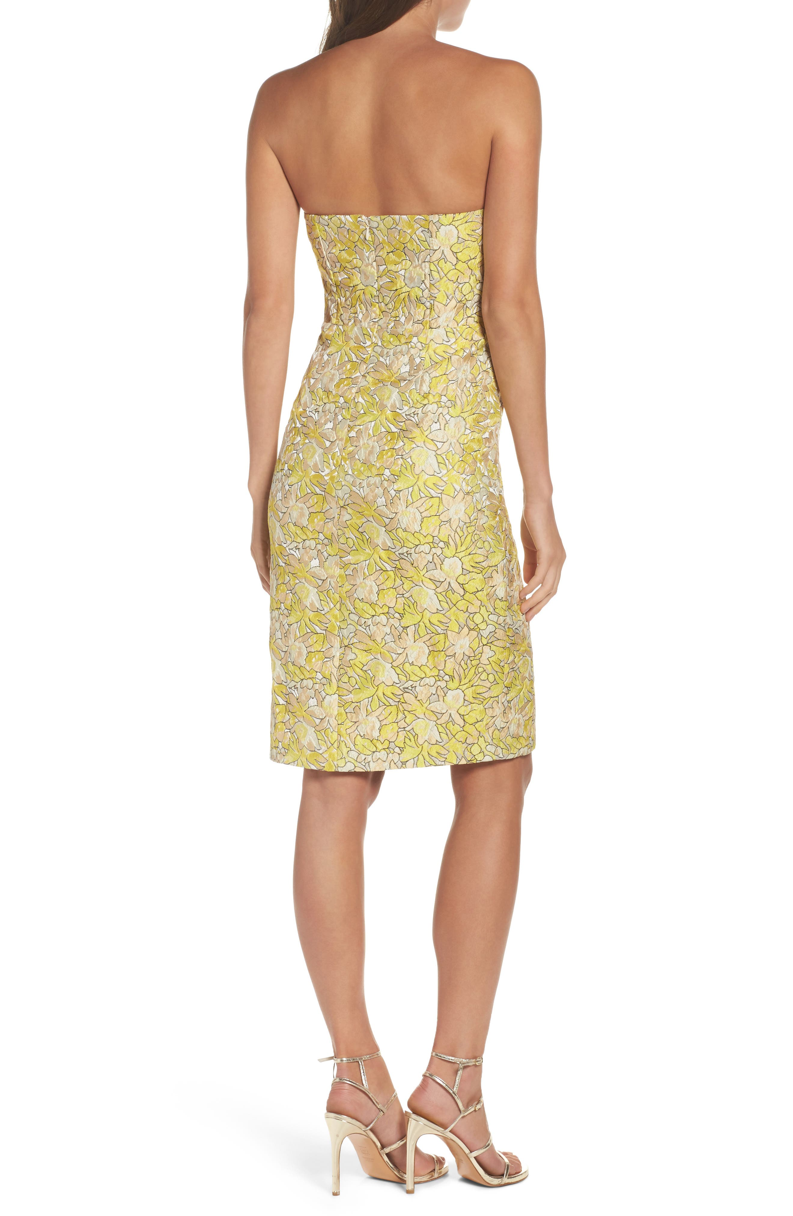 Gretta Strapless Jacquard Sheath Dress,                             Alternate thumbnail 2, color,                             730