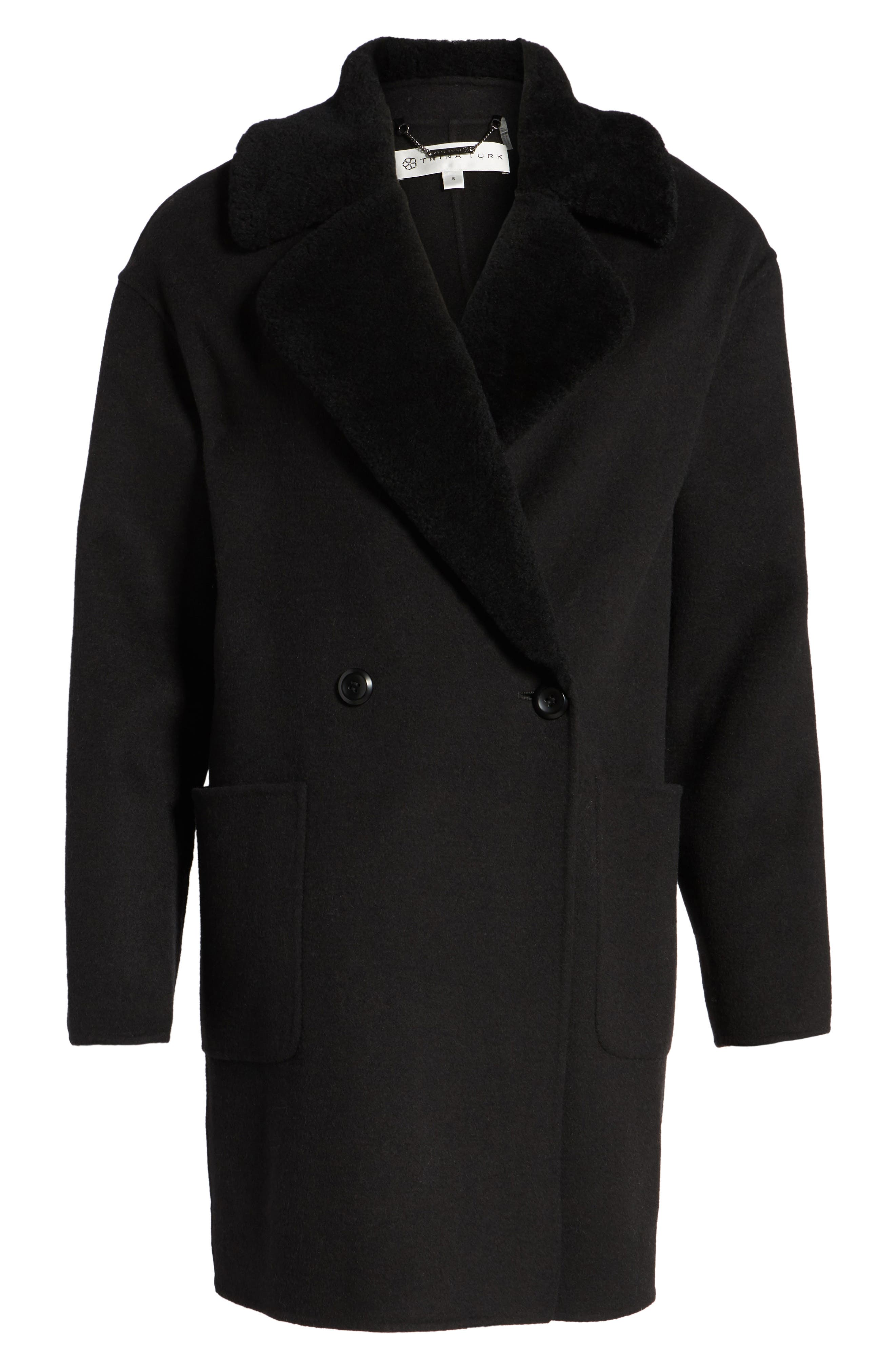 Dawn Genuine Shearling Collar Double Face Coat,                             Alternate thumbnail 5, color,                             001