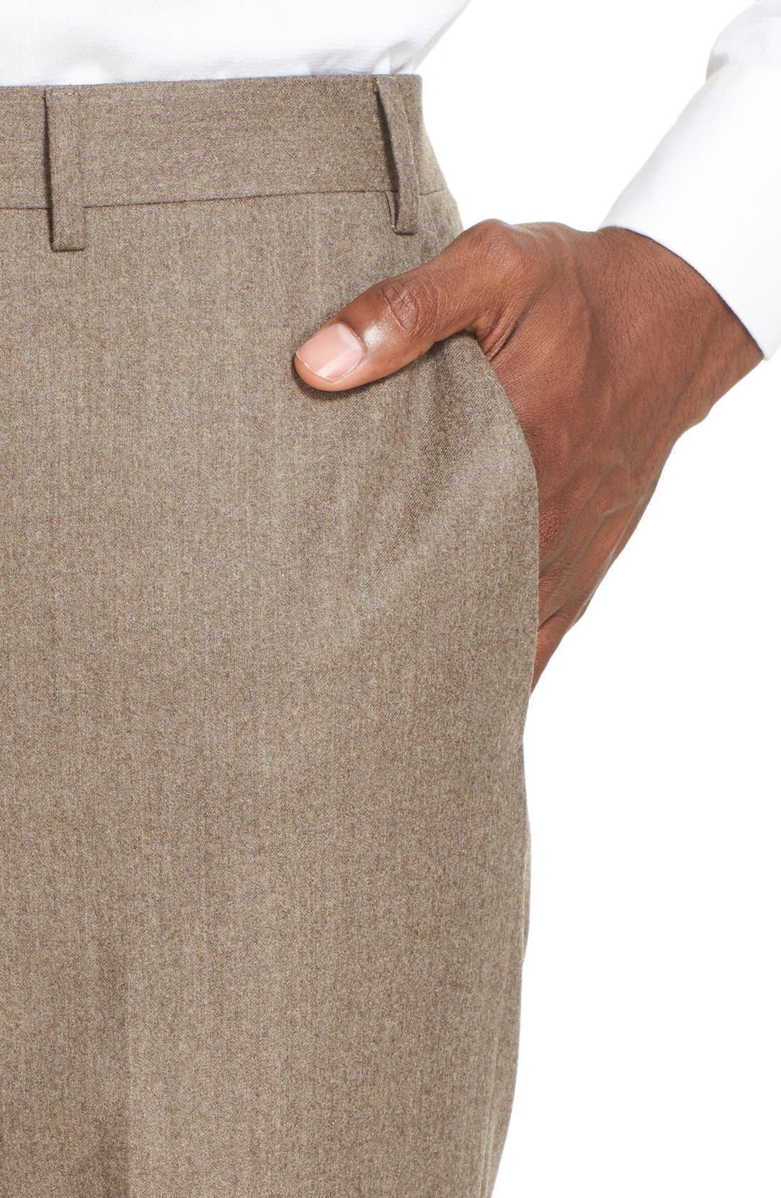 Flat Front Solid Wool Trousers,                             Alternate thumbnail 5, color,                             TAN