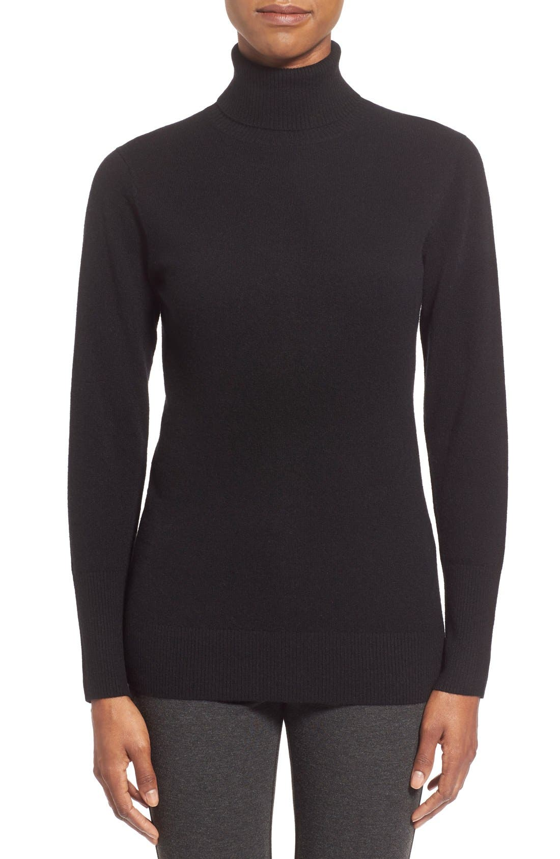 NORDSTROM COLLECTION Cashmere Turtleneck Sweater, Main, color, 001