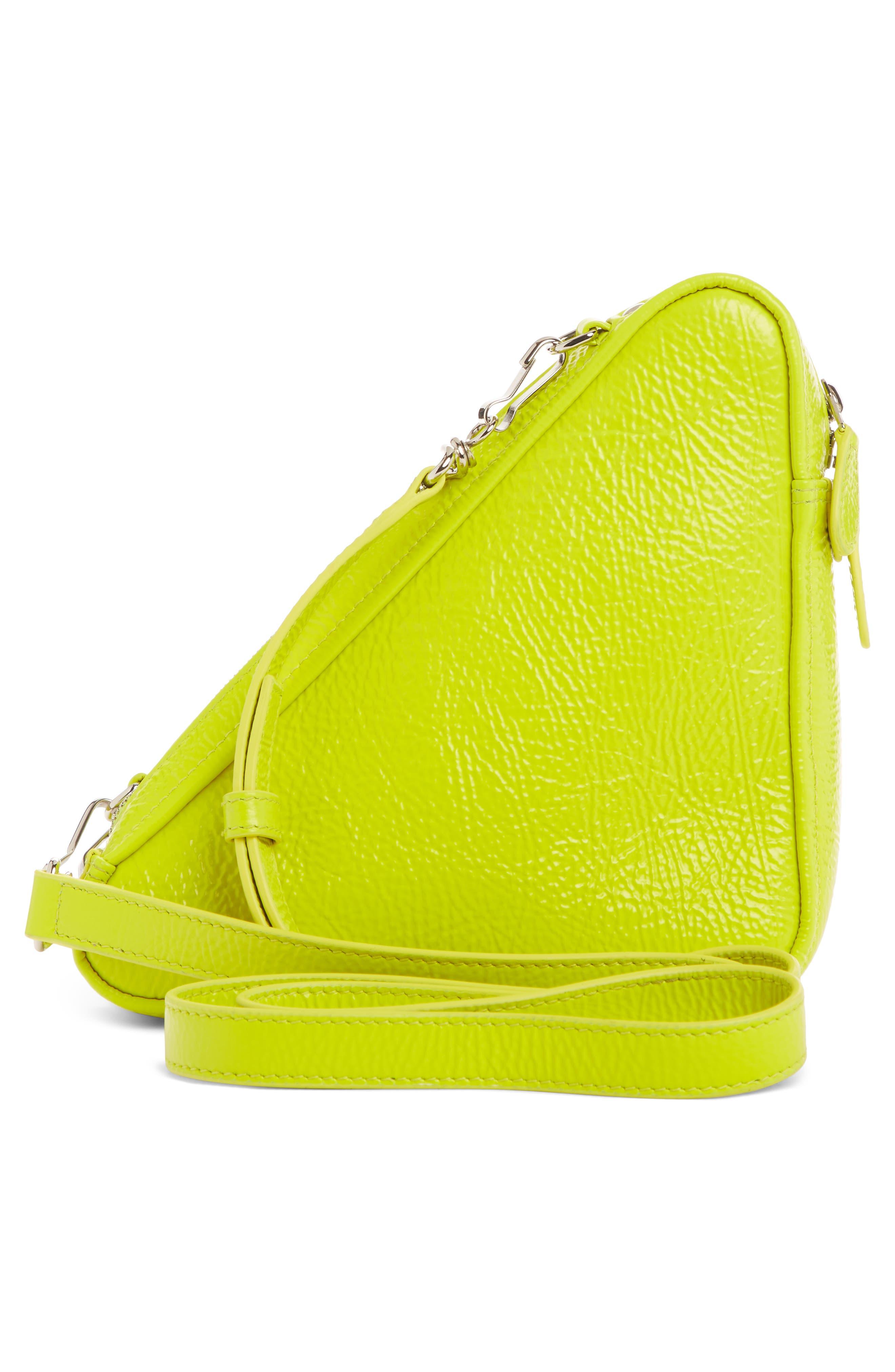 BALENCIAGA,                             Triangle Calfskin Crossbody Bag,                             Alternate thumbnail 3, color,                             ACID GREEN/ BLACK